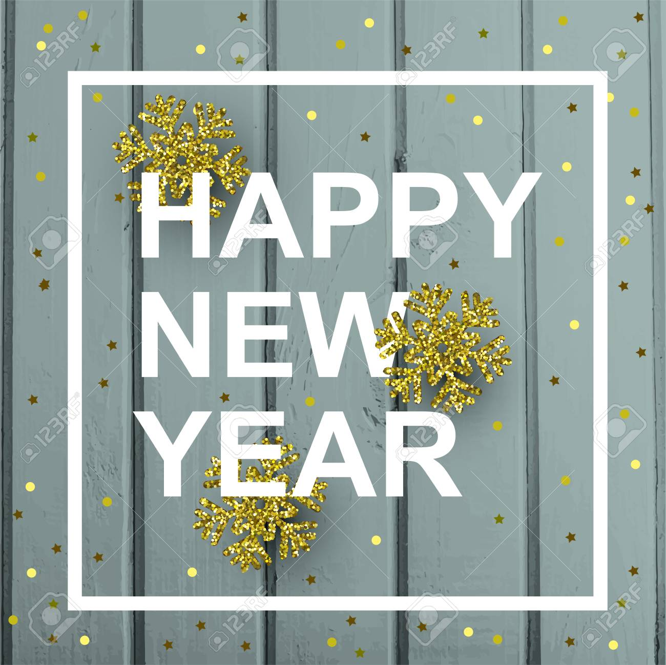 happy new year card with gold snowflakes and confetti on a background of wooden boards