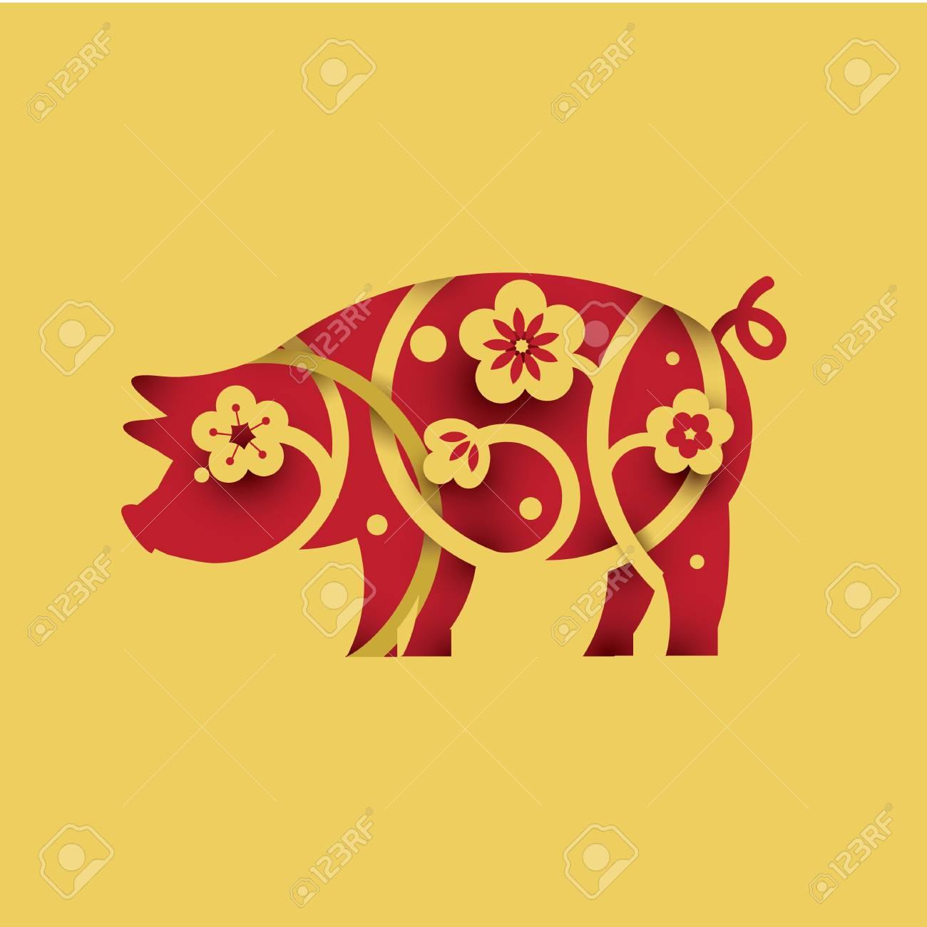 Pig. Symbol of 2019. Paper cut style. - 110158001