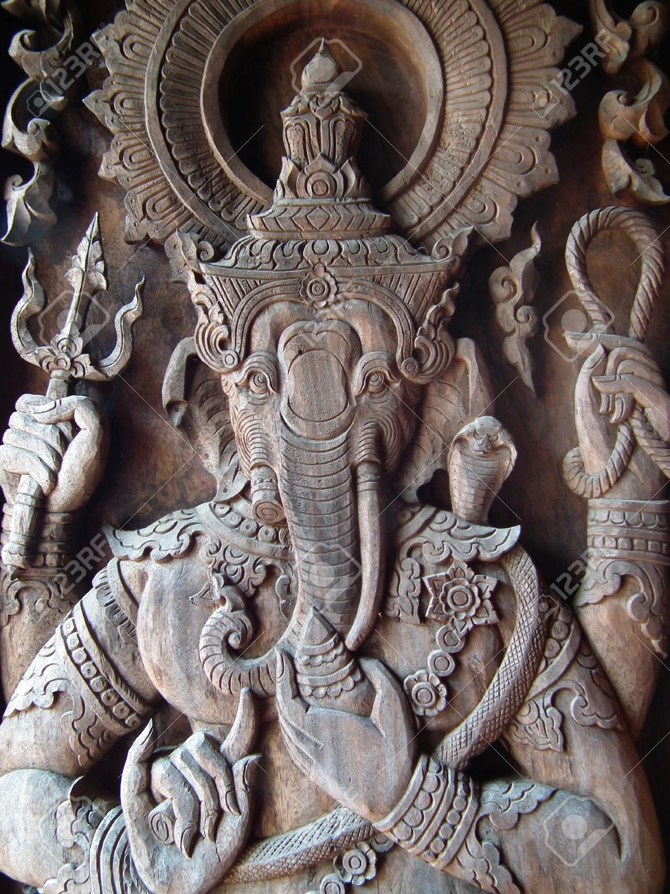 Ganesha wood carving door stock photo picture and royalty free