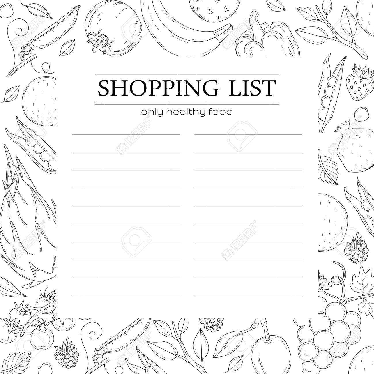 Trendige Einkaufsliste Vorlage Mit Gemüse. Lizenzfrei Nutzbare ...