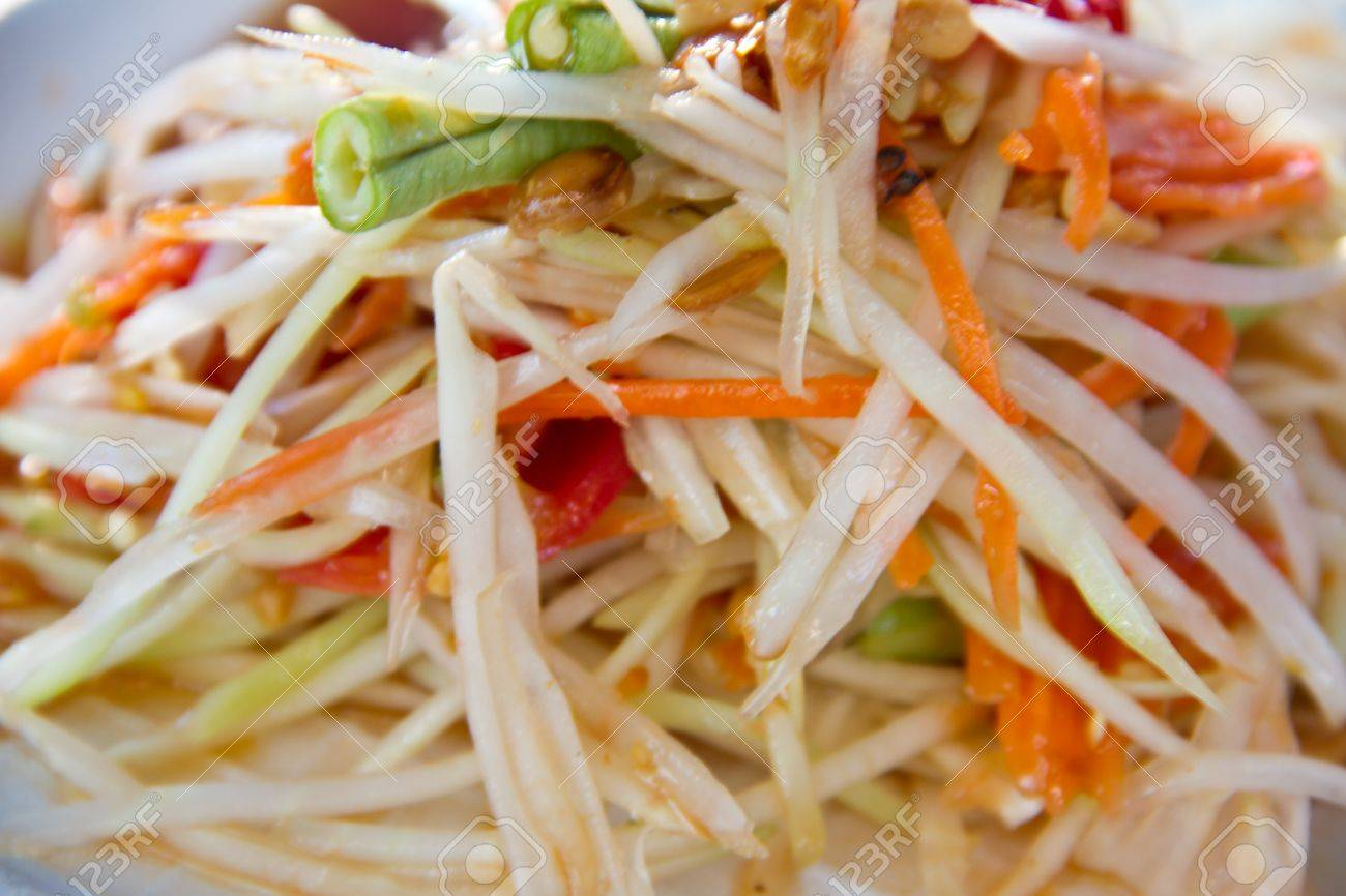 SomTumThai Green Papaya Salad Stock Photo, Picture And Royalty