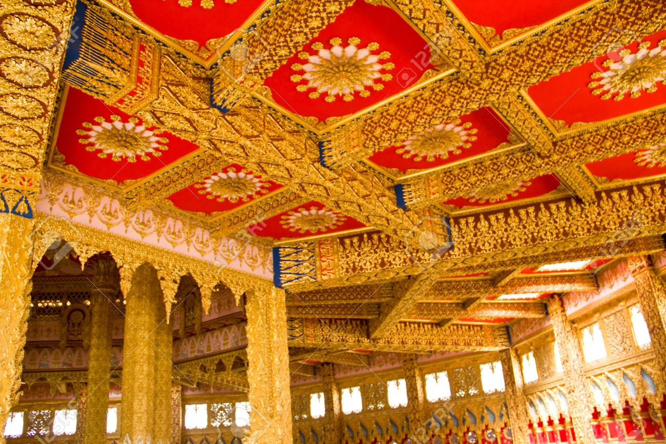 Thai Style Ceiling Art at Chaimongkol pagoda, Roi et Province Thailand Stock Photo - 16722227