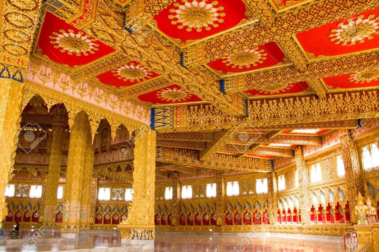Thai Style Ceiling Art at Chaimongkol pagoda, Roi et Province Thailand Stock Photo - 16722225