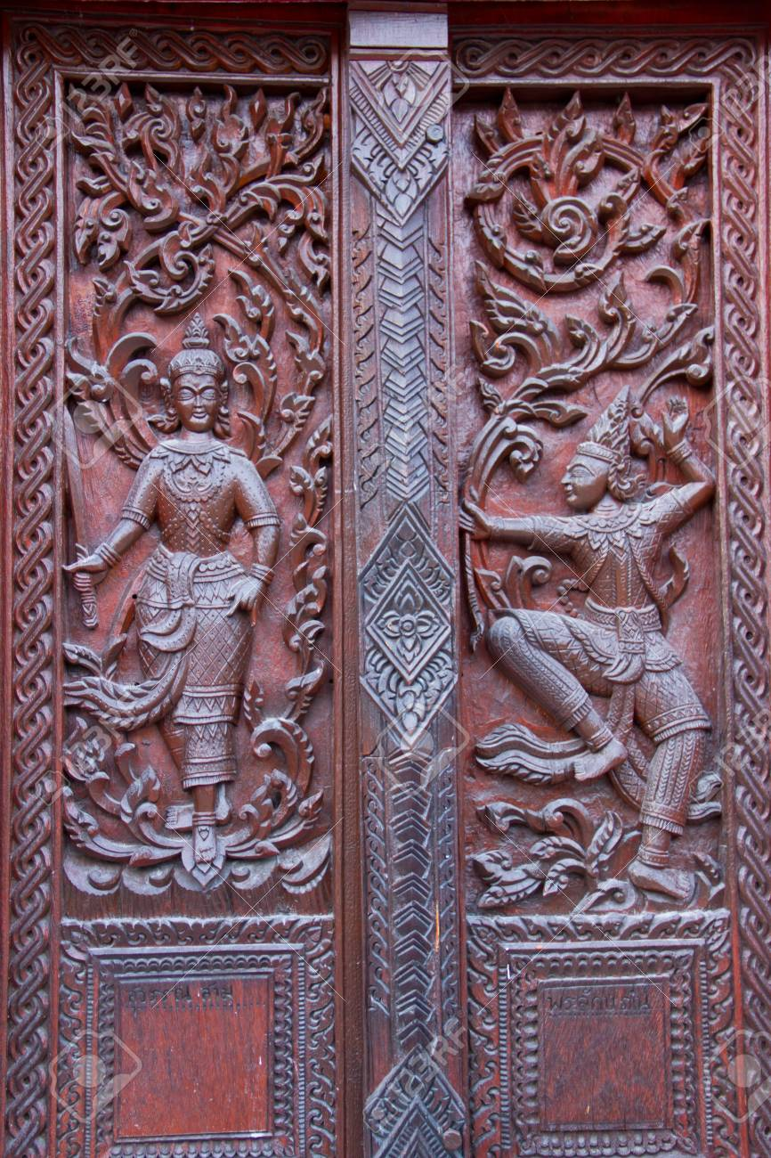Thai style carving wood at thai temple Stock Photo - 17731977