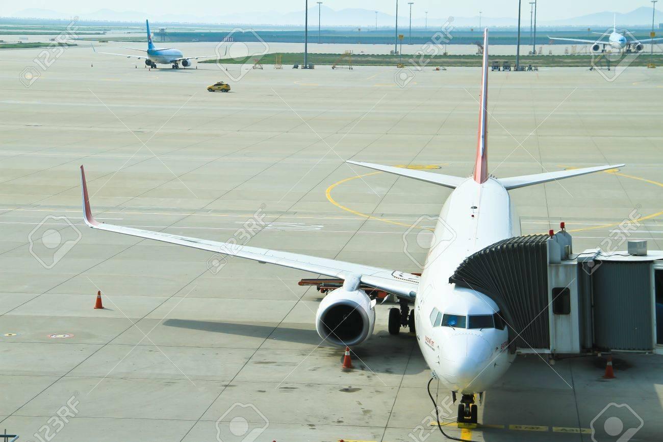 Aerobridge Incheon International Airport, Seoul, Südkorea ...