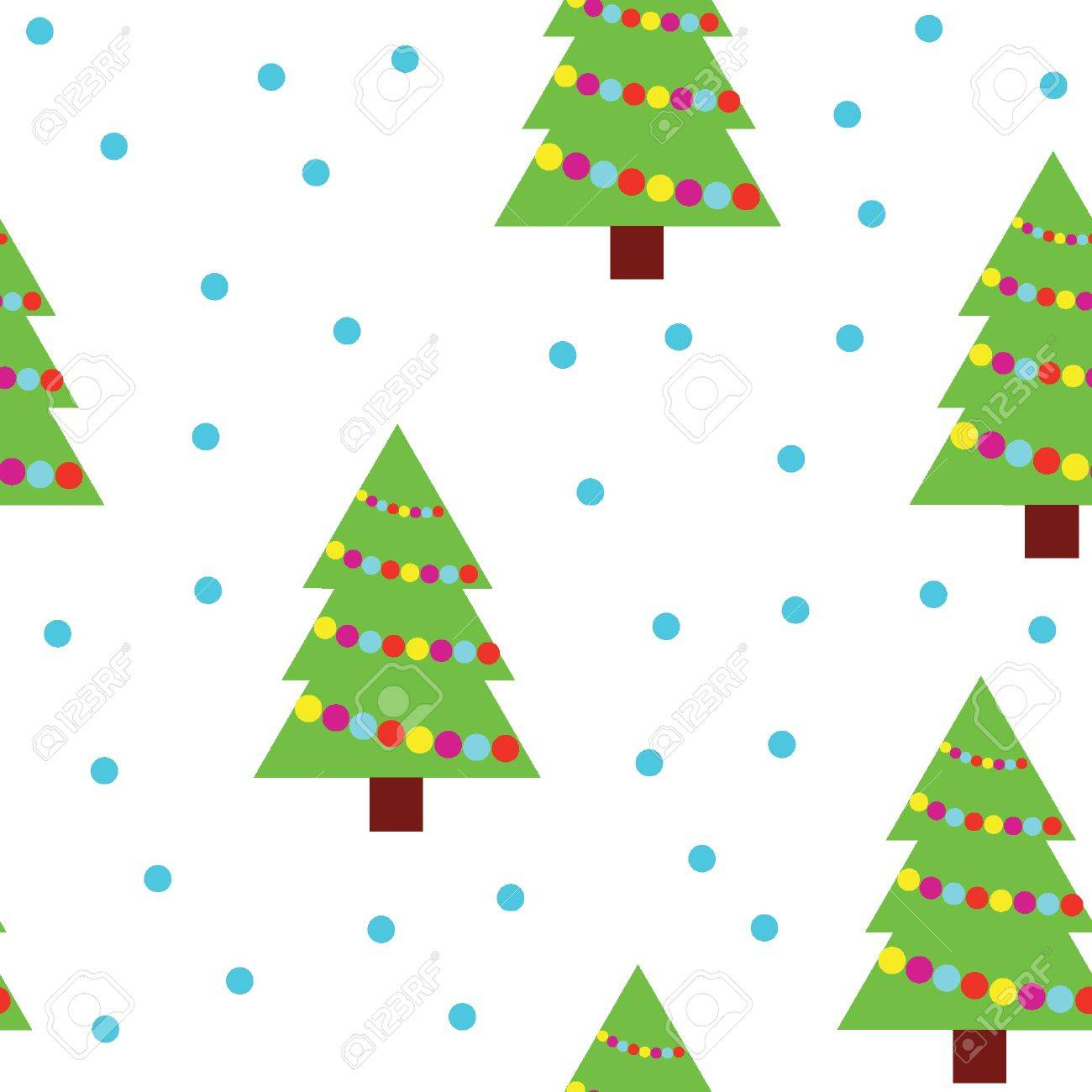 ector seamless pattern of christmas trees and snowflakes Stock Vector - 11053218