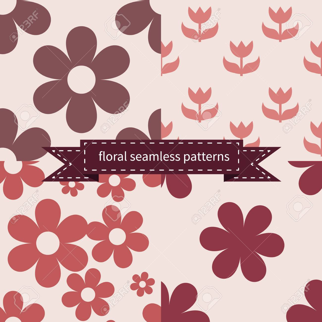 Set Of Flat Simple Floral Seamless Patterns With Marsala Colors