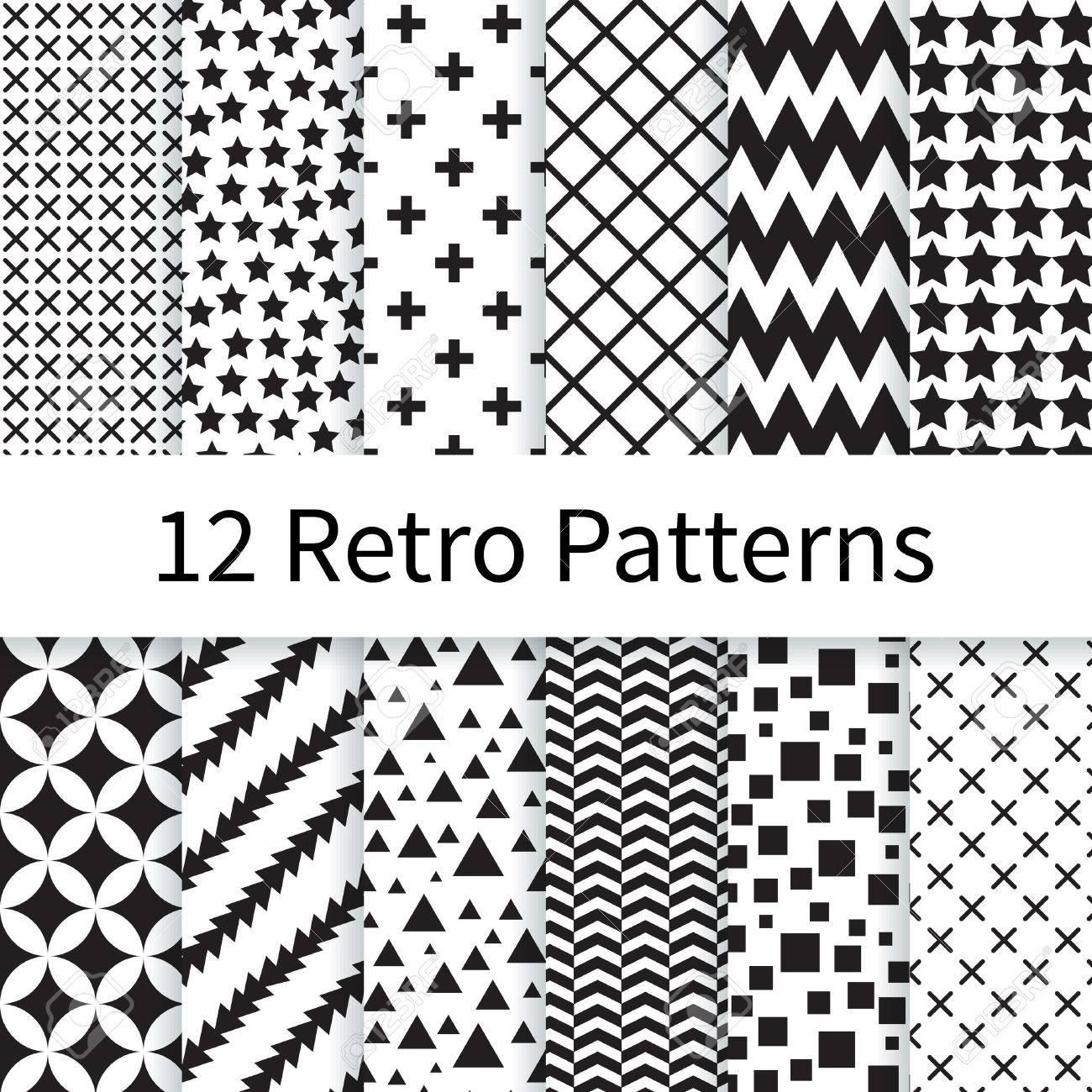 12 Patrones De Costura Diferentes Retro Vector Geométricos, Suelo De ...