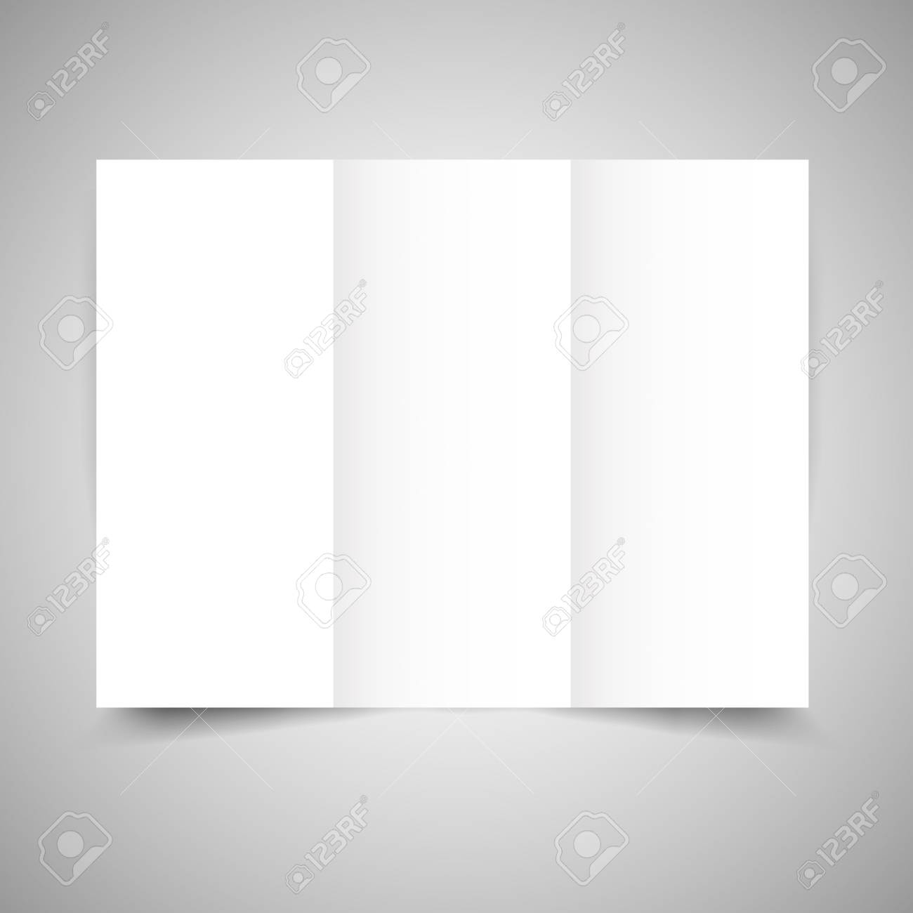blank tri fold paper brochure design template with soft shadows