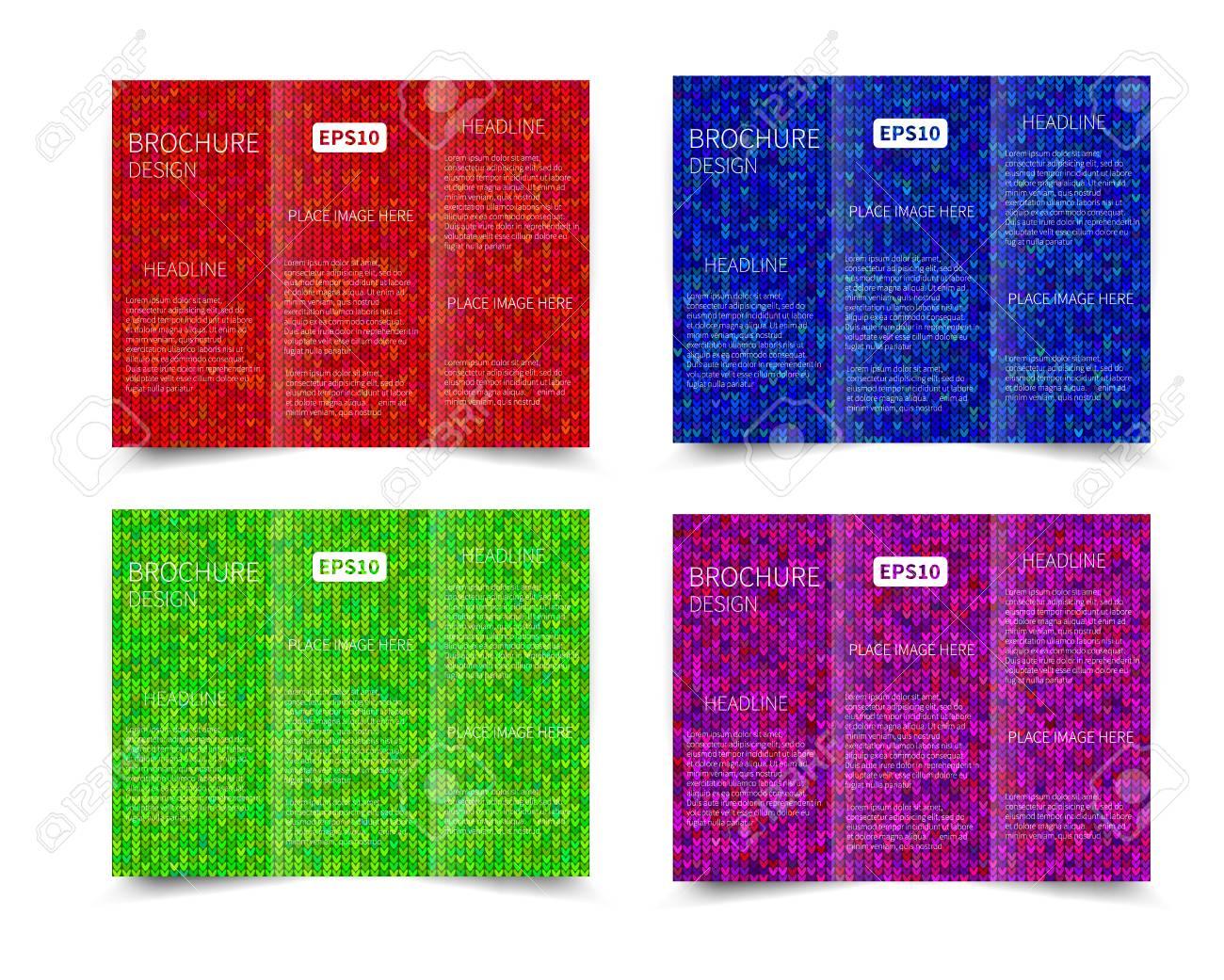 Set Of Vector Three Fold Brochure Design Template With Abstract - Free tri fold brochure design templates