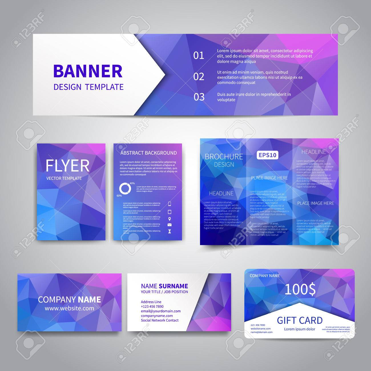 Banner flyers brochure business cards gift card design templates banner flyers brochure business cards gift card design templates set with geometric reheart Images