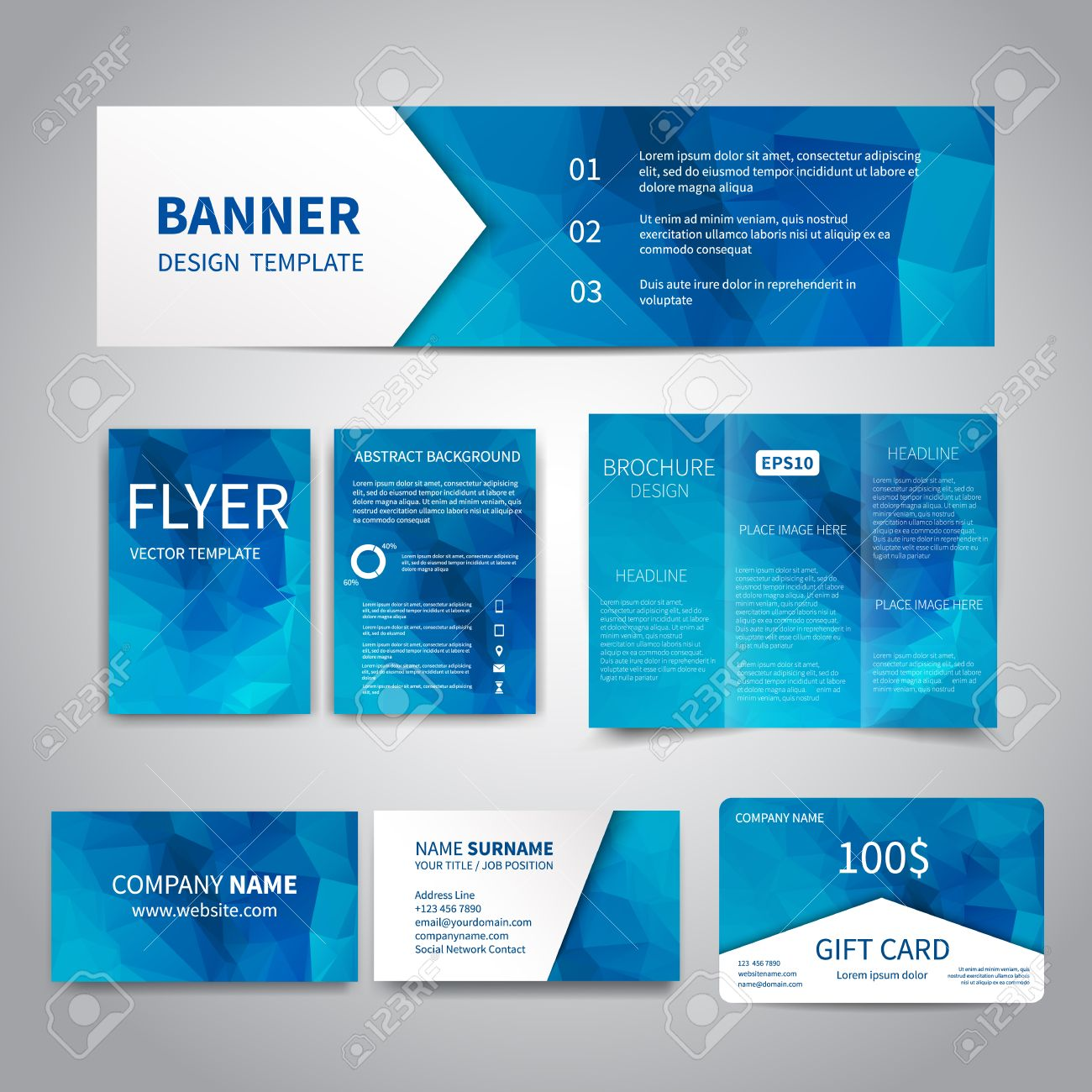 Banner flyers brochure business cards gift card design templates banner flyers brochure business cards gift card design templates set with geometric reheart