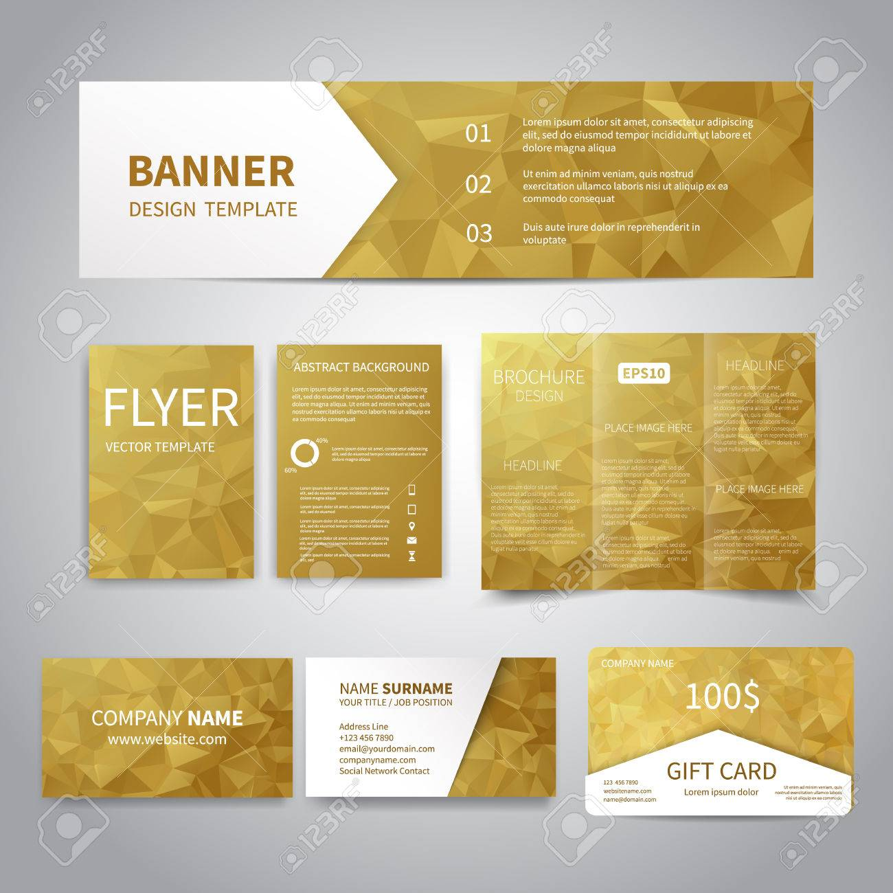 Banner flyers brochure business cards gift card design templates banner flyers brochure business cards gift card design templates set with geometric colourmoves