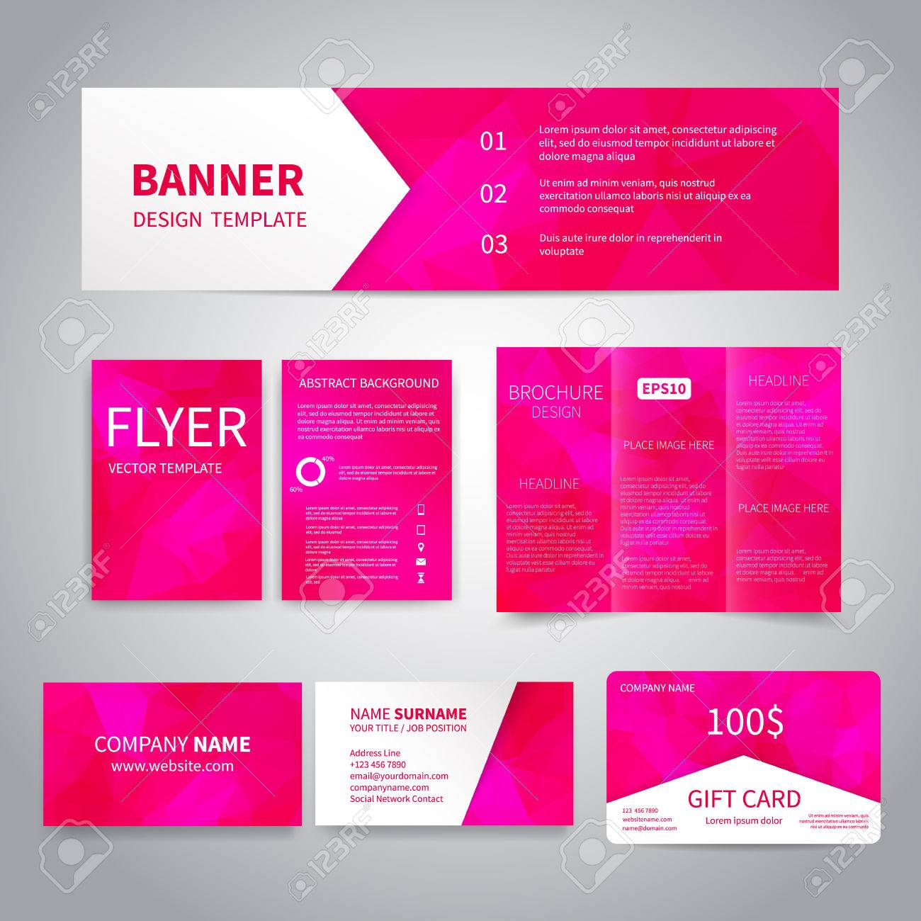 Banner flyers brochure business cards gift card design templates banco de imagens banner flyers brochure business cards gift card design templates set with geometric triangular pink background reheart Images