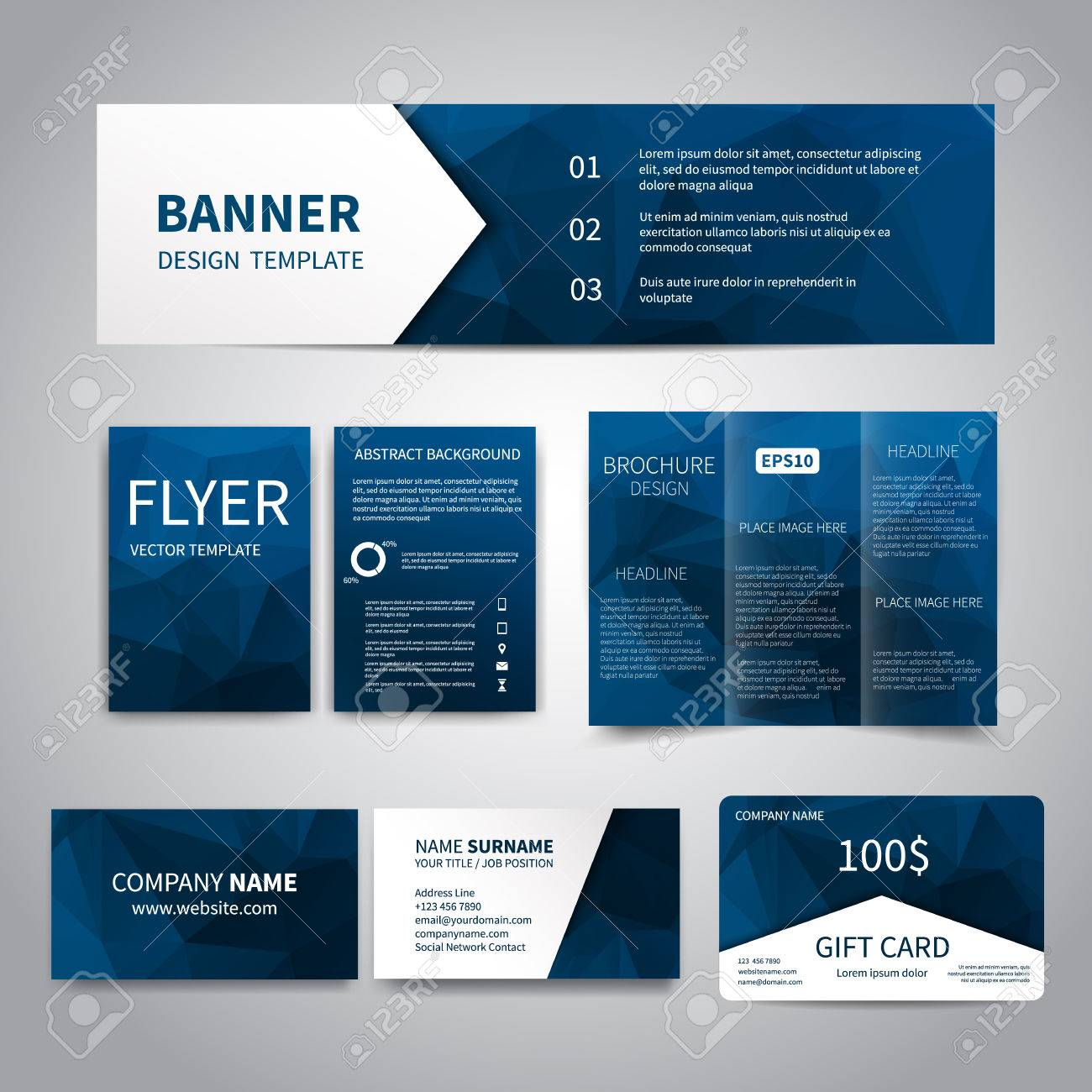 Banner Flyers Brochure Business Cards Gift Card Design - Business cards examples templates