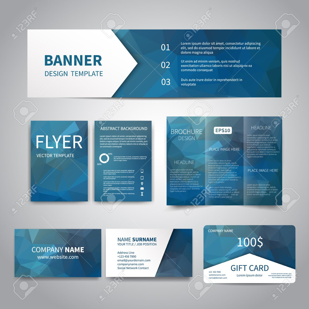 Banner flyers brochure business cards gift card design banner flyers brochure business cards gift card design templates set with geometric magicingreecefo Image collections