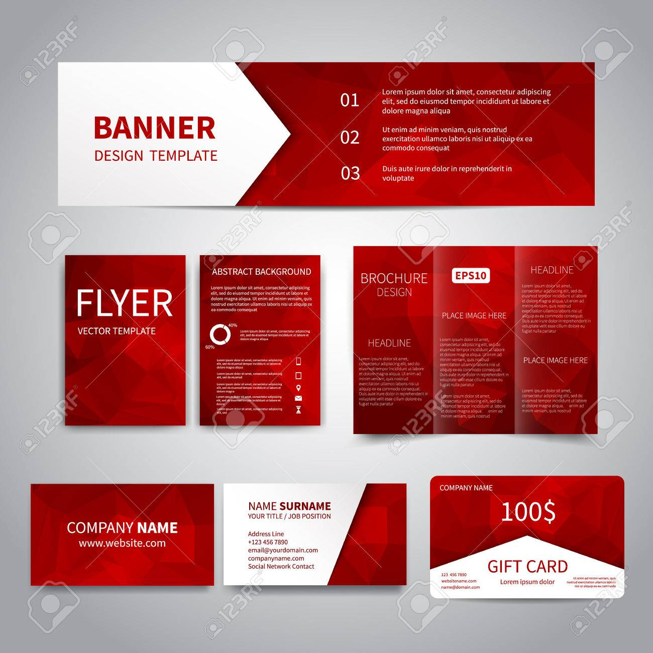 Banner flyers brochure business cards gift card design templates banner flyers brochure business cards gift card design templates set with geometric flashek Images
