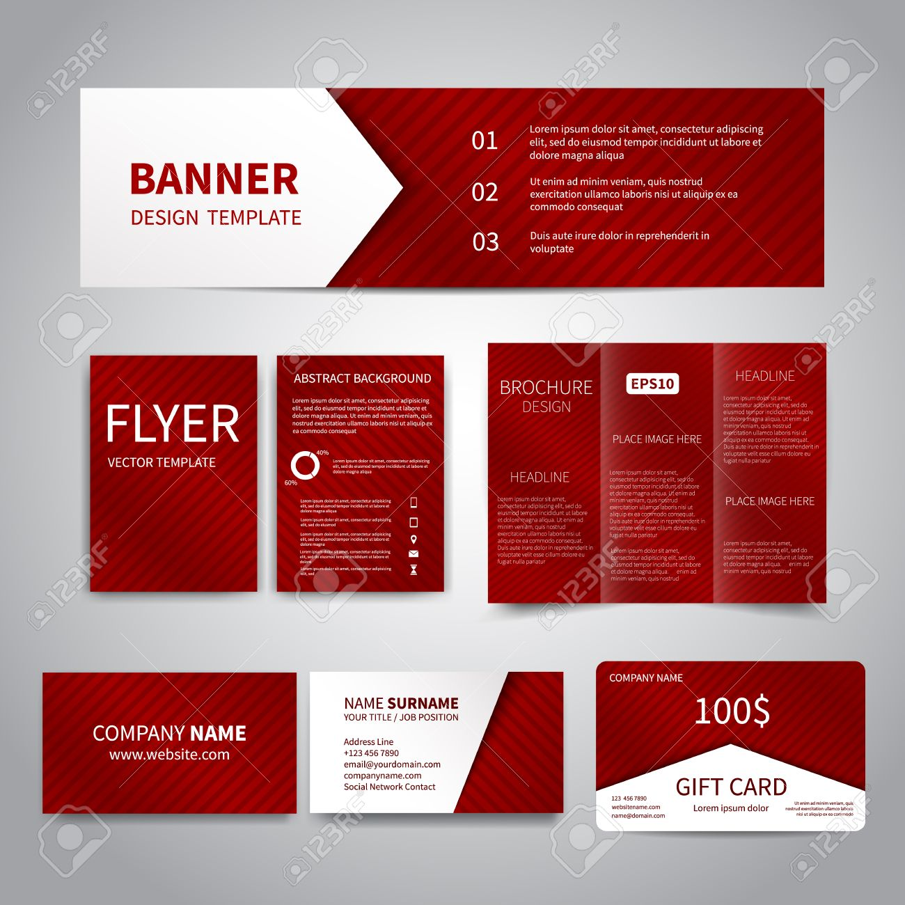 banner flyers brochure business cards gift card design templates set with red