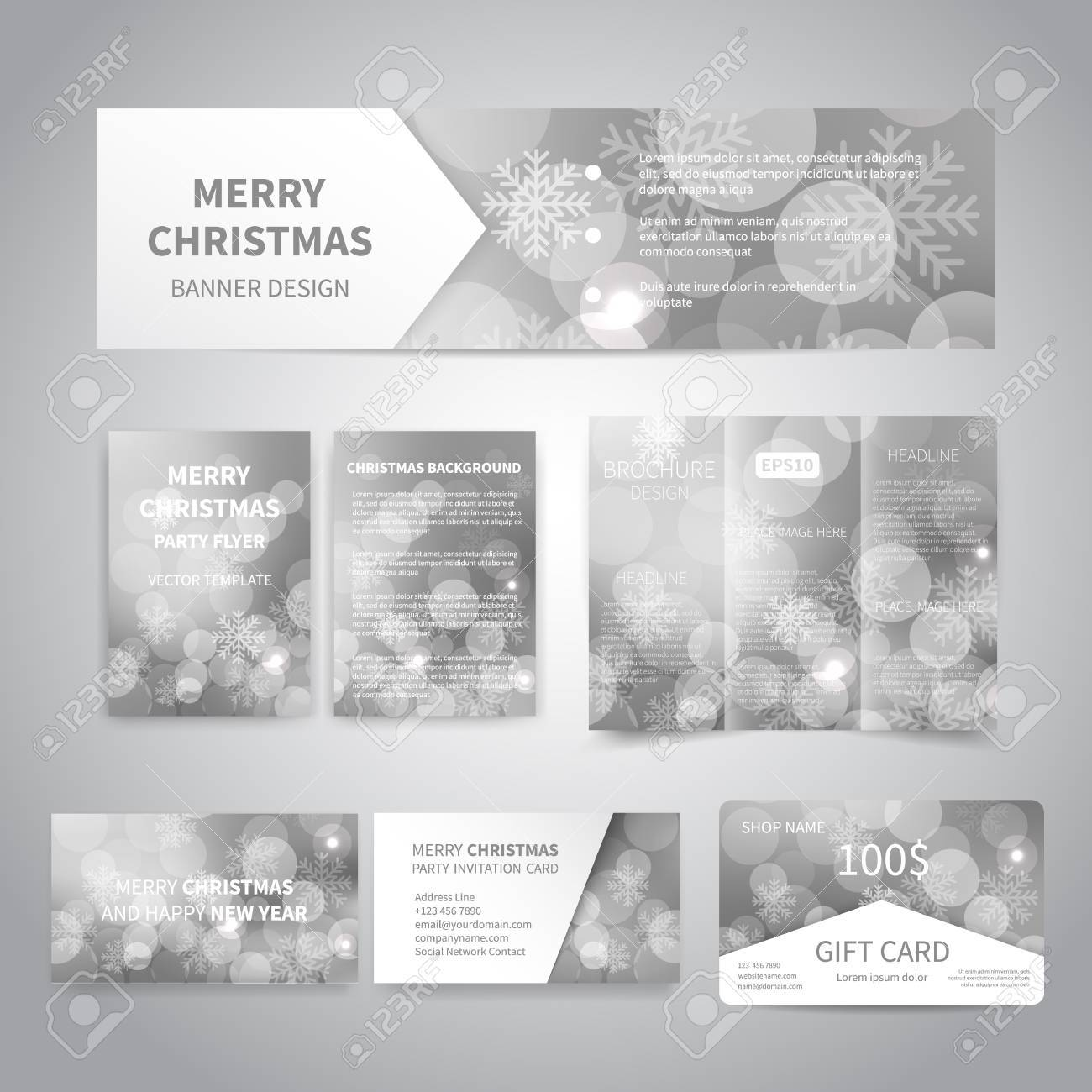 Merry Christmas Banner, Flyers, Brochure, Cards, Gift Card Design ...