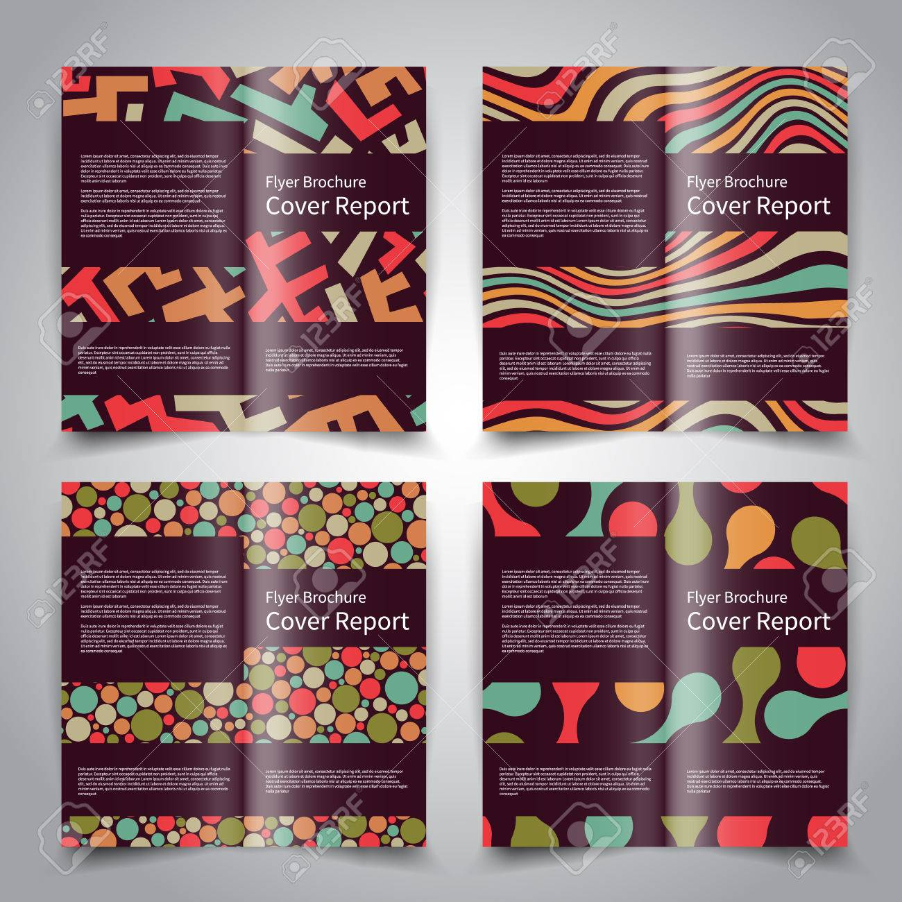 brochure design templates set with abstract geometric ornament