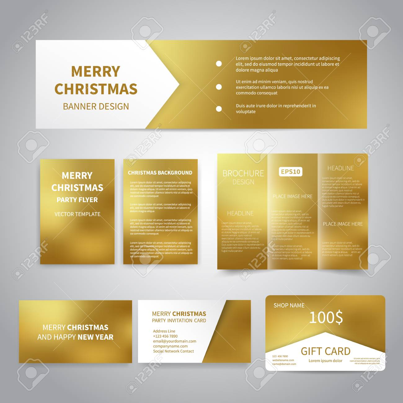 merry christmas banner flyers brochure cards gift card design