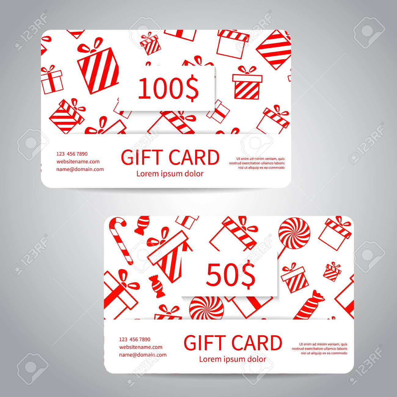 Merry Christmas Gift Card Or Discount Card Set With Red Gift ...