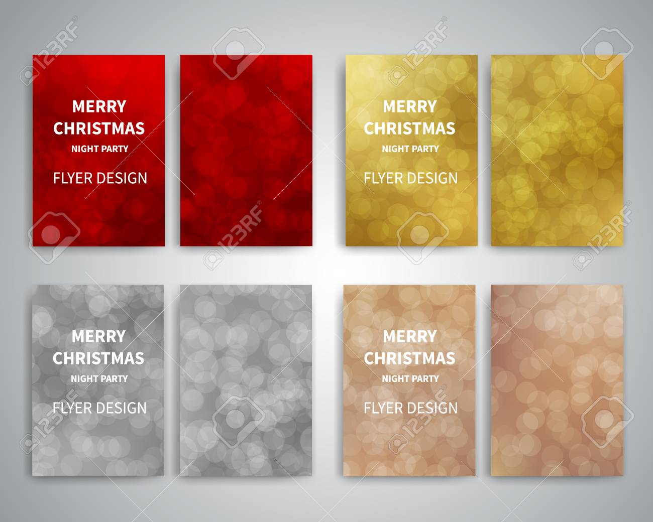Plantillas De Diseño Folleto De Navidad. Conjunto De Plantillas De ...