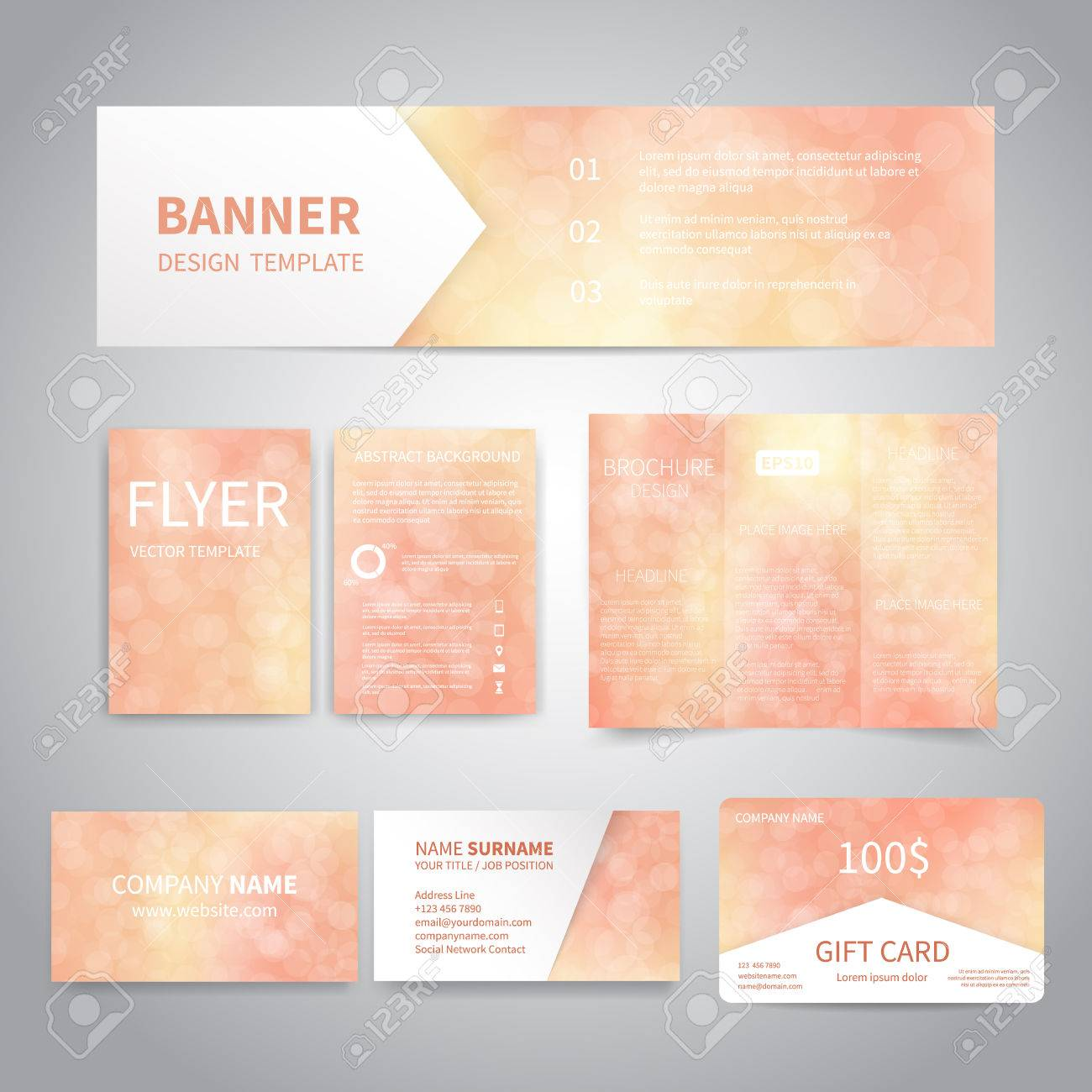 Banner flyers brochure business cards gift card design templates banner flyers brochure business cards gift card design templates set with beautiful colourmoves Image collections