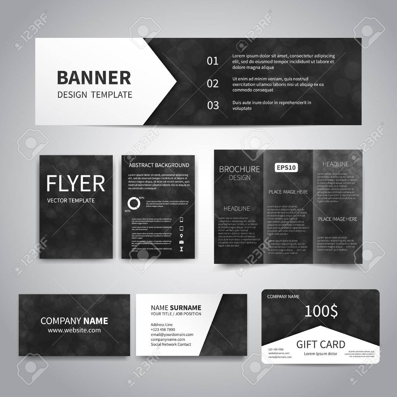 Banner flyers brochure business cards gift card design templates banner flyers brochure business cards gift card design templates set with beautiful colourmoves