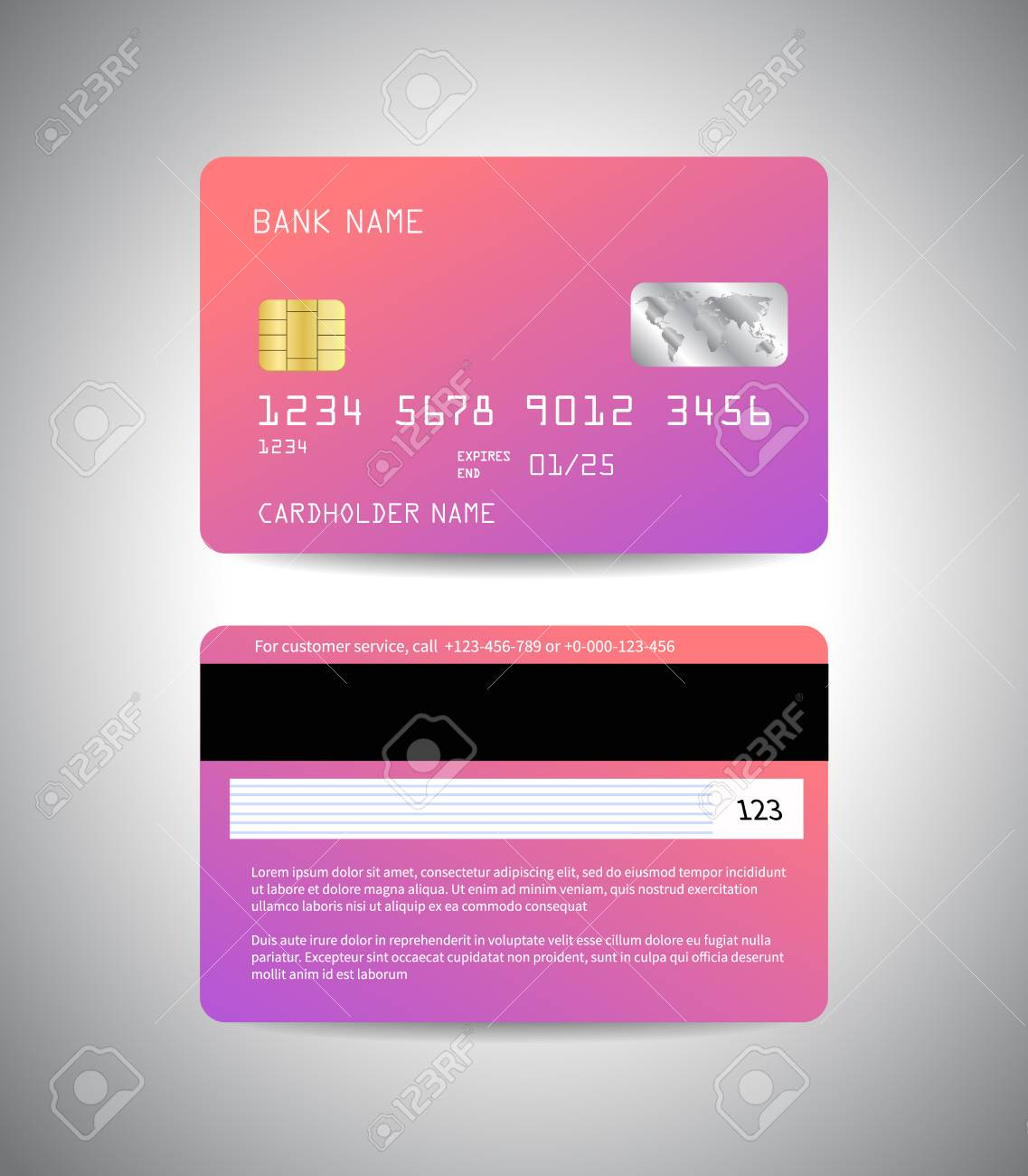Realistic Detailed Credit Cards Set With Colorful Pink Gradient Abstract Background Design Front And Back