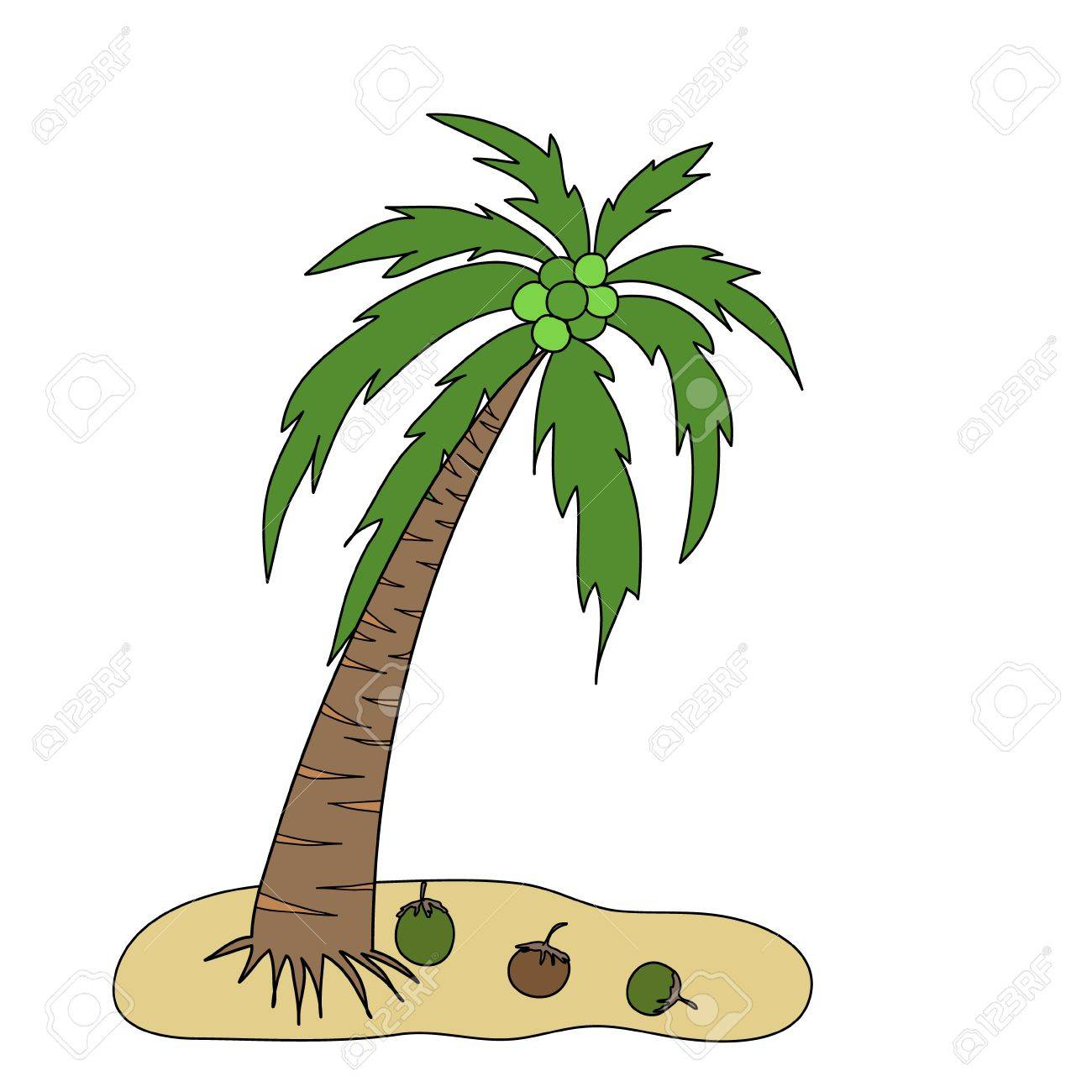 Coconut Tree Is On A Small Island With Three Cocoanuts Royalty Free ...