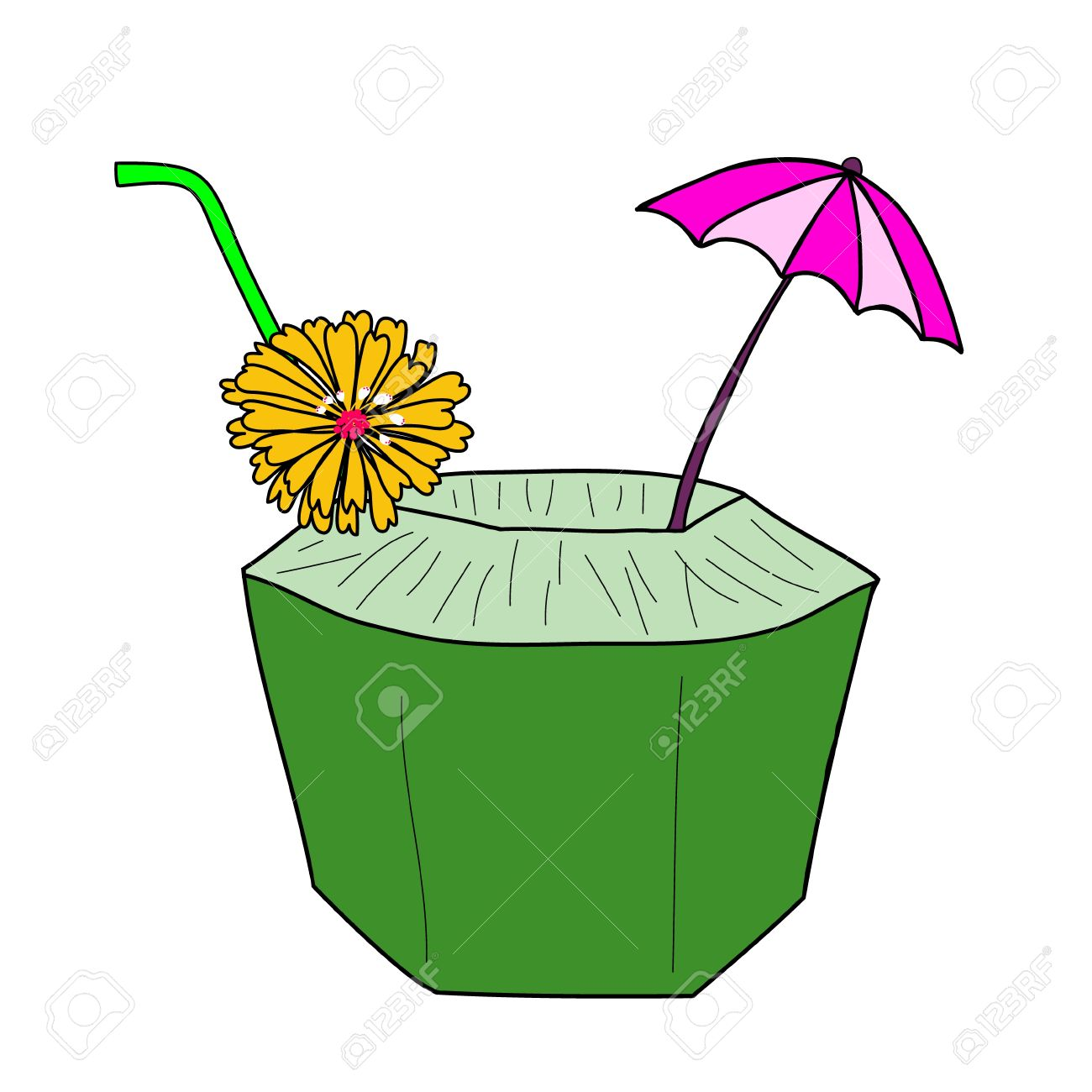 fresh coconut juice with yellow flower and small umbrella Stock Vector - 19196807