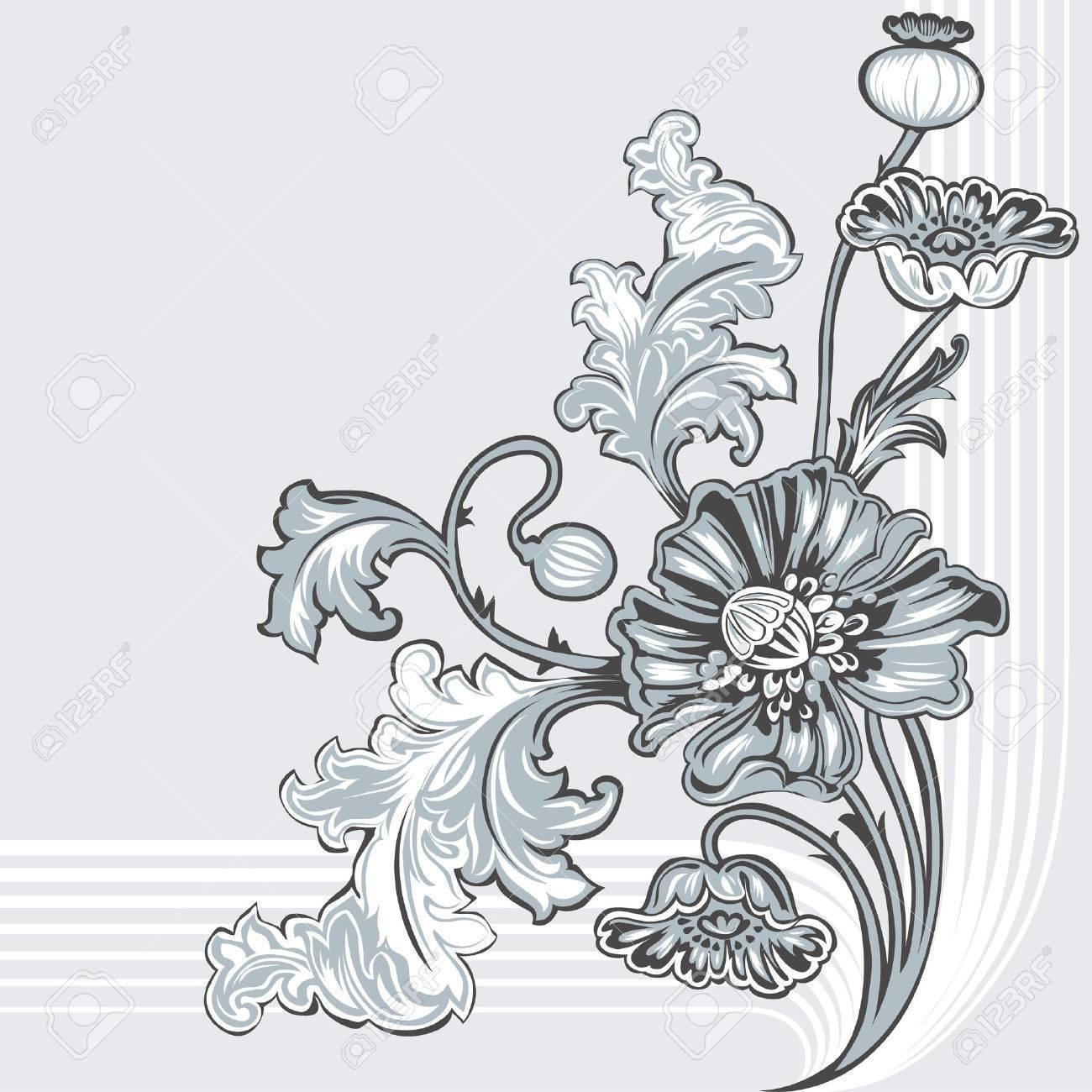 Art Nouveau Flower Images Poppy Flower Art Nouveau