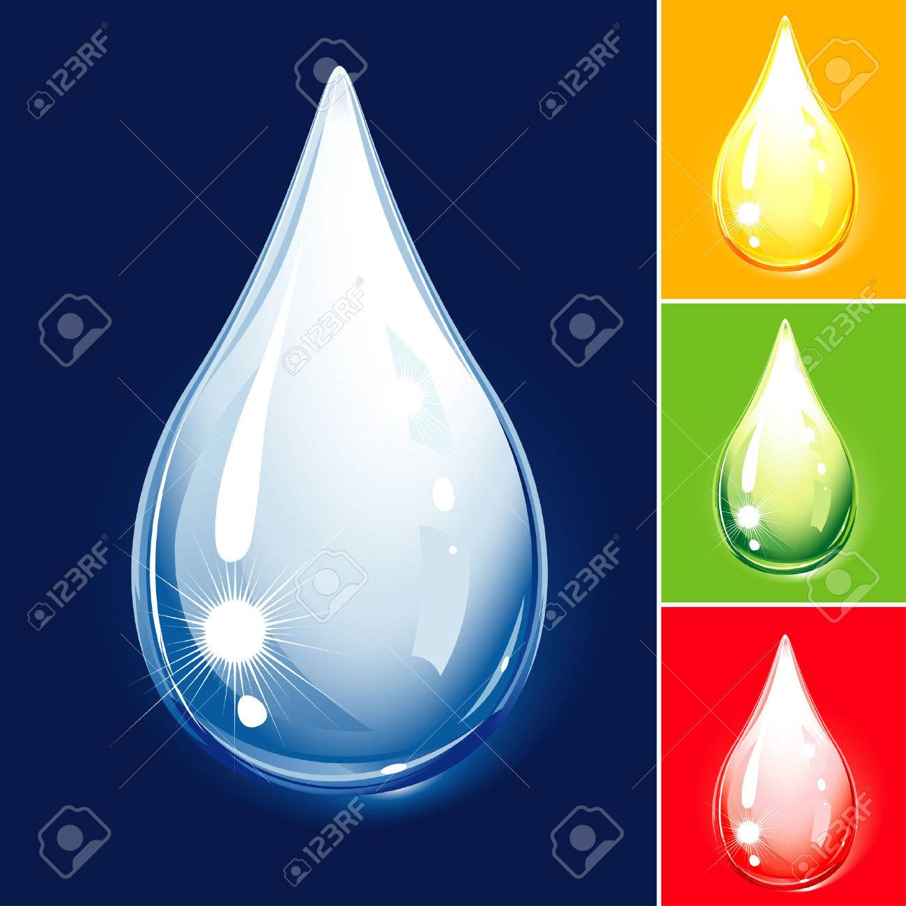 Colorful Drop Set - Water And Oil, editable vector illustration Stock Vector - 4770165