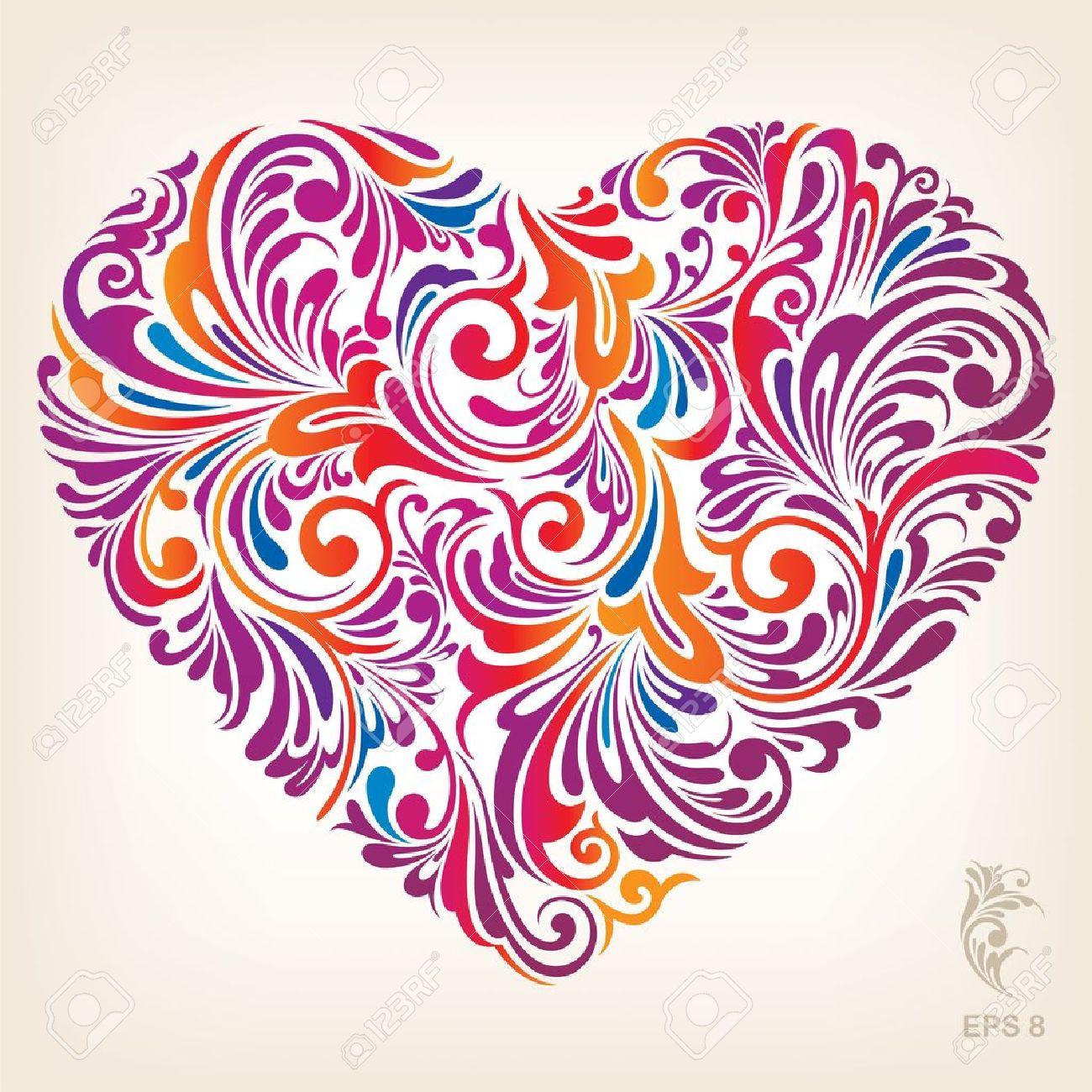 Ornamental Colored Heart Pattern Stock Vector - 12963945