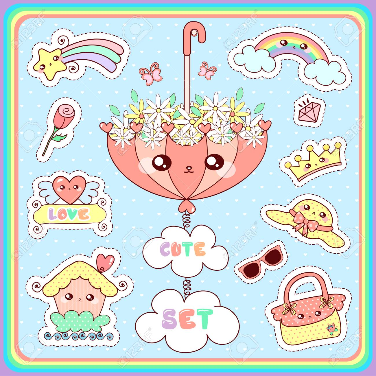 Set of girl fashion patches cute cartoon badges fun stickers design vector in motivation