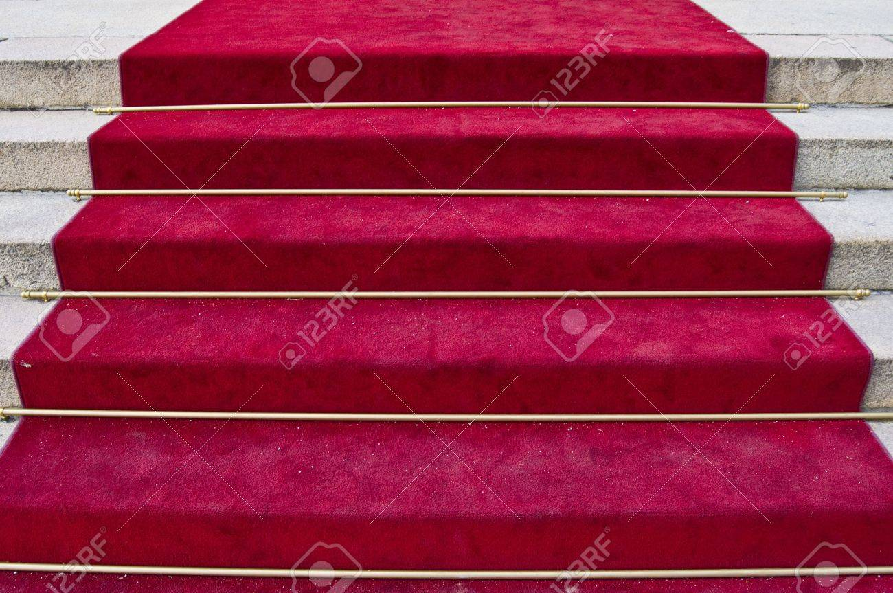 beautiful red carpet leading up old steps Stock Photo - 5600668