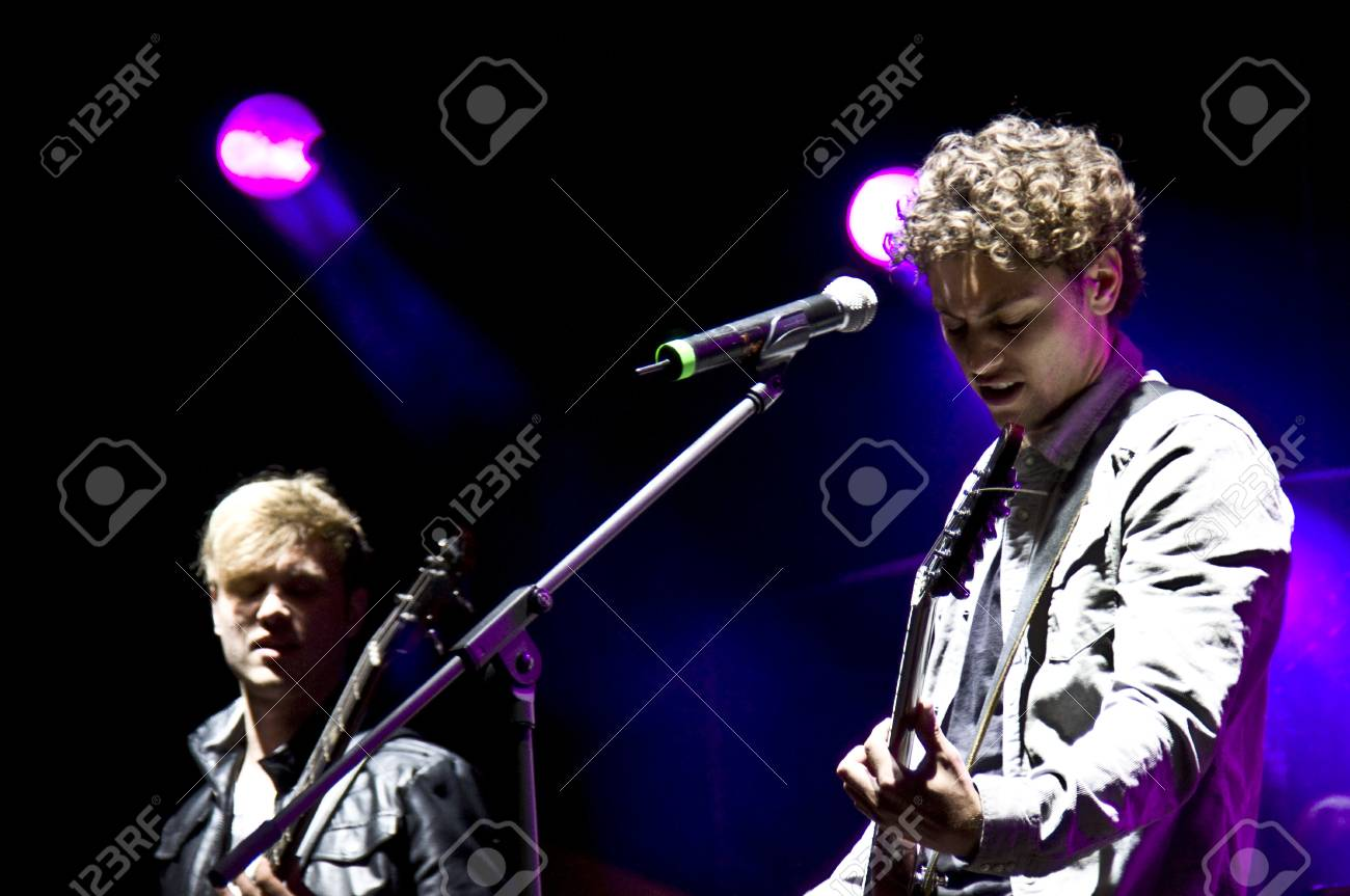 HALLE, GERMANY - AUGUST 27: Singer Trevor Brown and Bassist Kevin Dollerschell of the Band The Black Pony perform at the 75th Laternenfest on August 27, 2011 in Halle, Germany. Stock Photo - 10404218