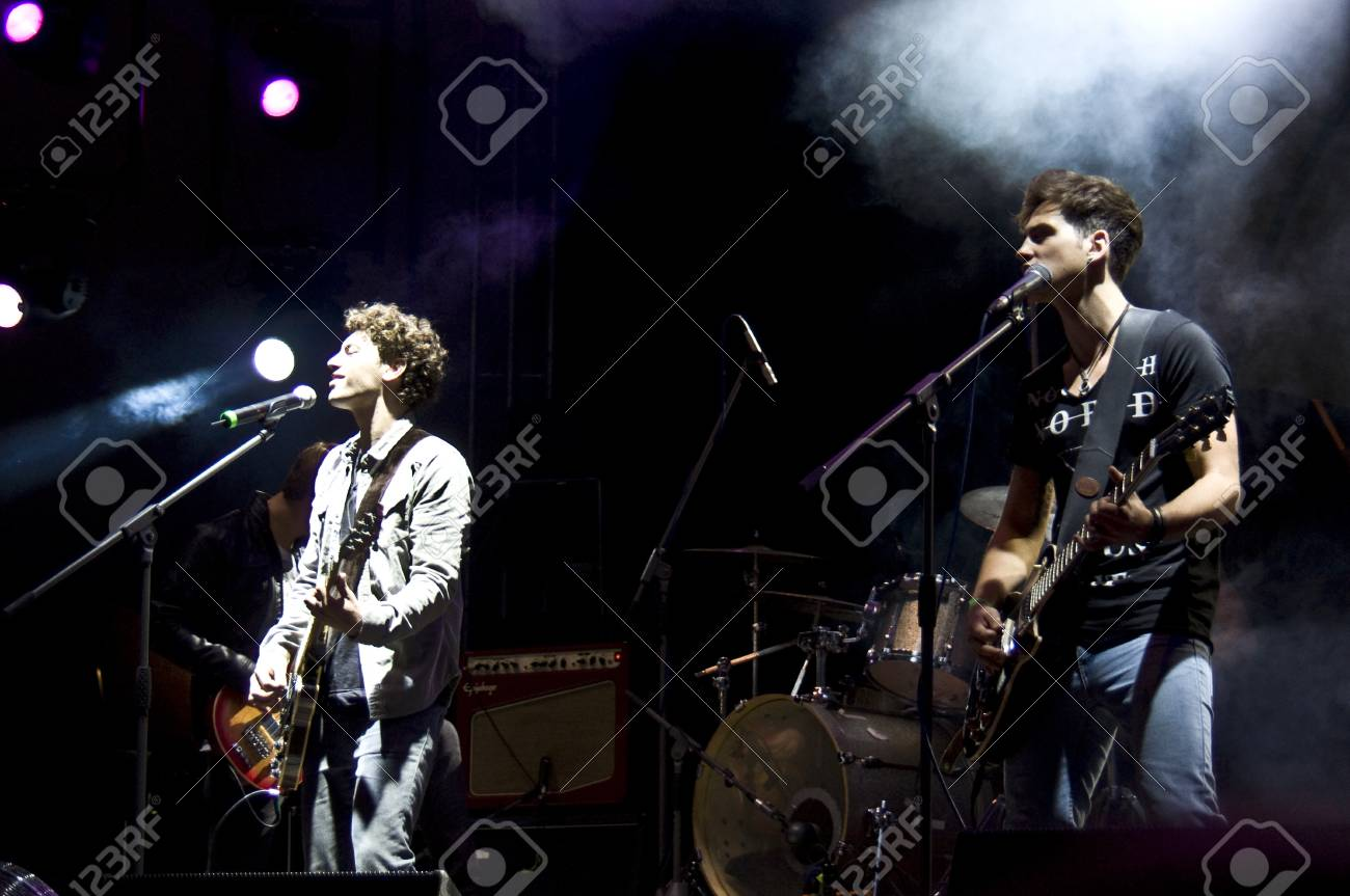 HALLE, GERMANY - AUGUST 27: Singer Trevor Brown and Guitarist Eugen Flittner of the Band The Black Pony performs at the 75th Laternenfest on August 27, 2011 in Halle, Germany. Stock Photo - 10404251