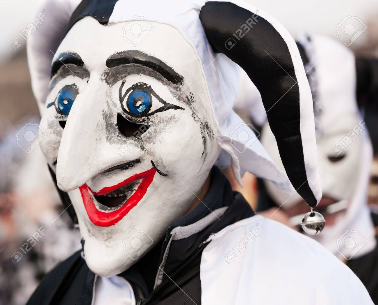 Black And White Jester Mask At Fasnacht Carnival In Basel ...