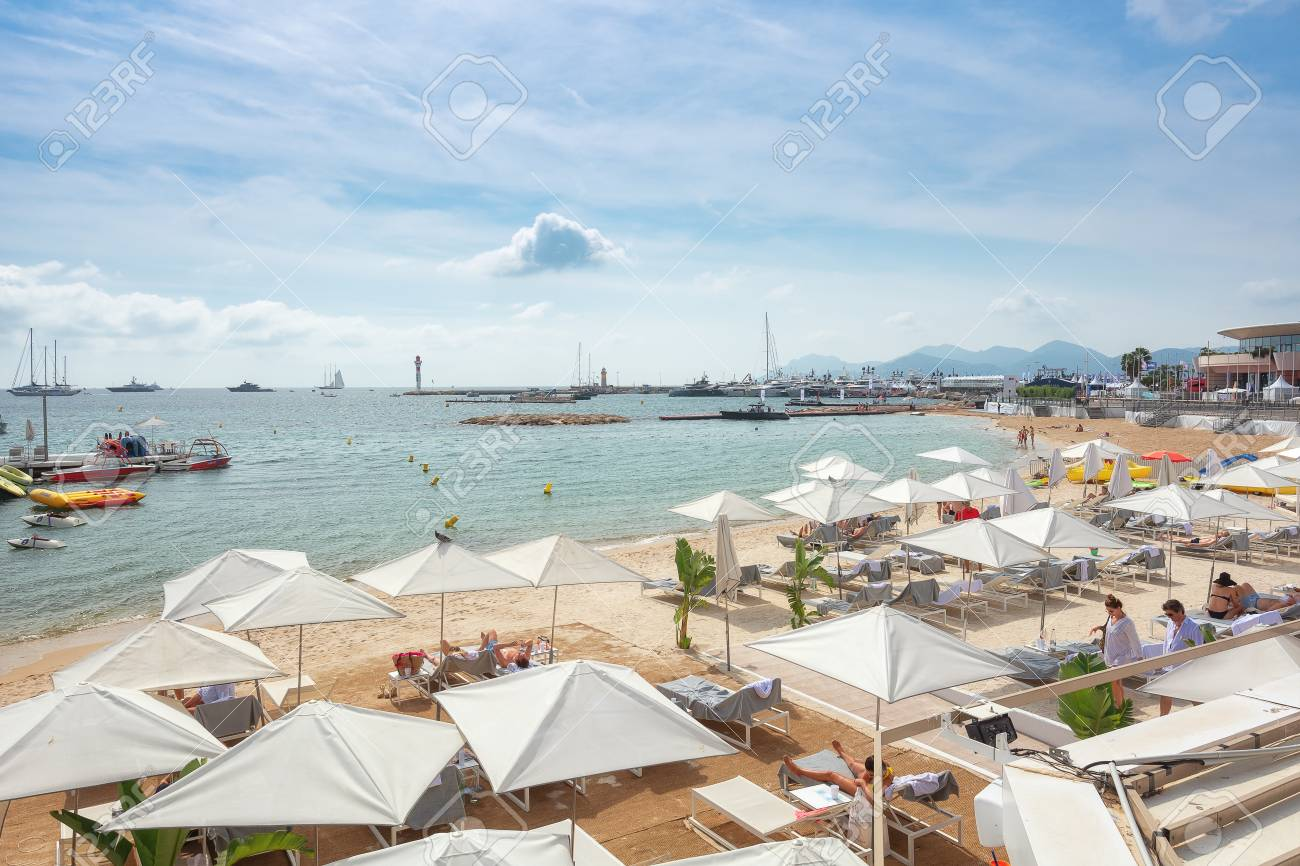 Cannes France September 15 2018 The Beach Terrace Belonging Stock Photo Picture And Royalty Free Image Image 113414956