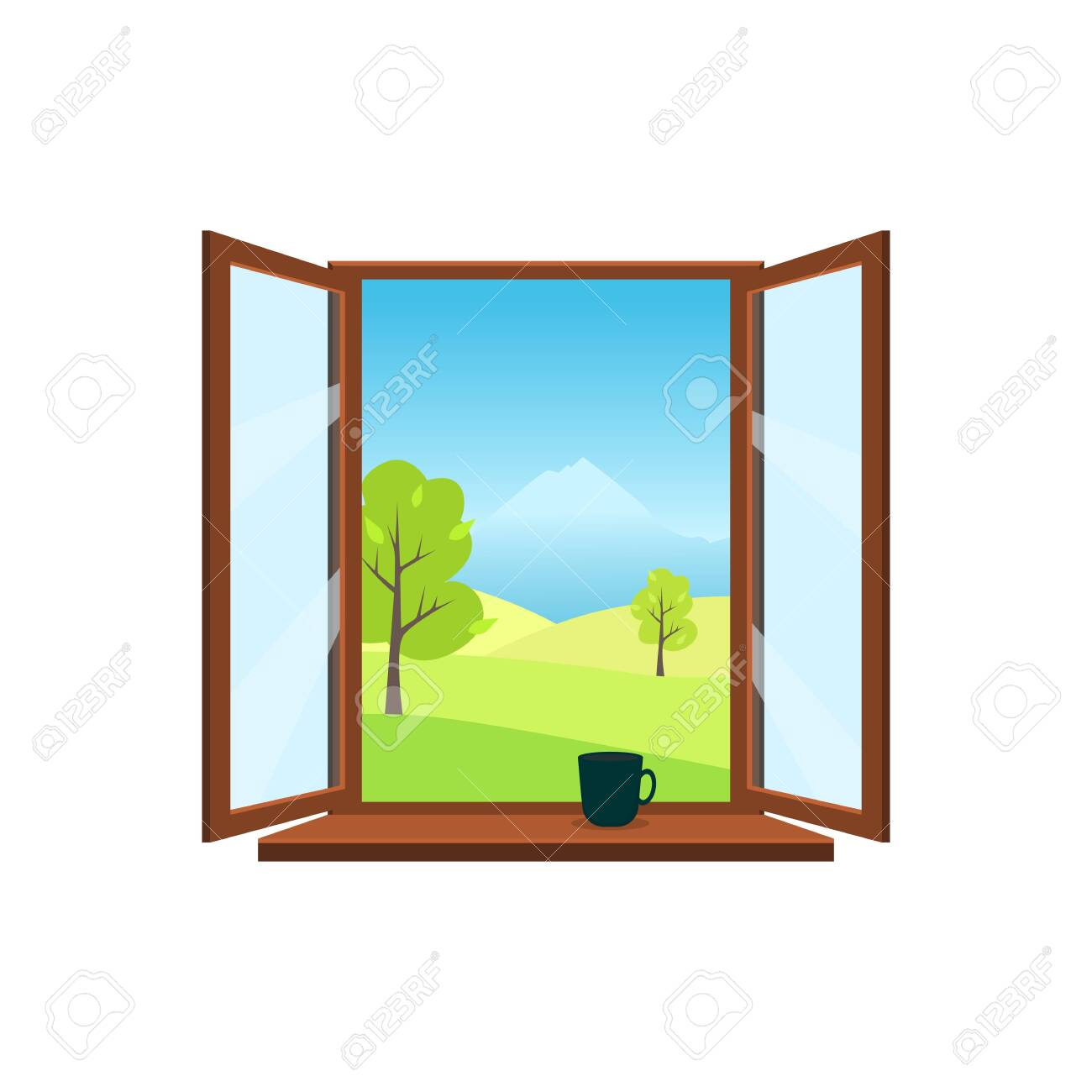 Open window on white background. Open window overlooking the spring landscape: meadows, mountains, trees. On the windowsill is worth a mug. Flat style vector illustration. - 119956885