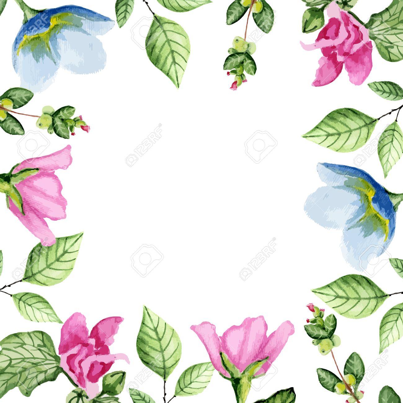 Acuarela Floral Blanco Marco, Tarjeta O Invitación. Ilustración ...