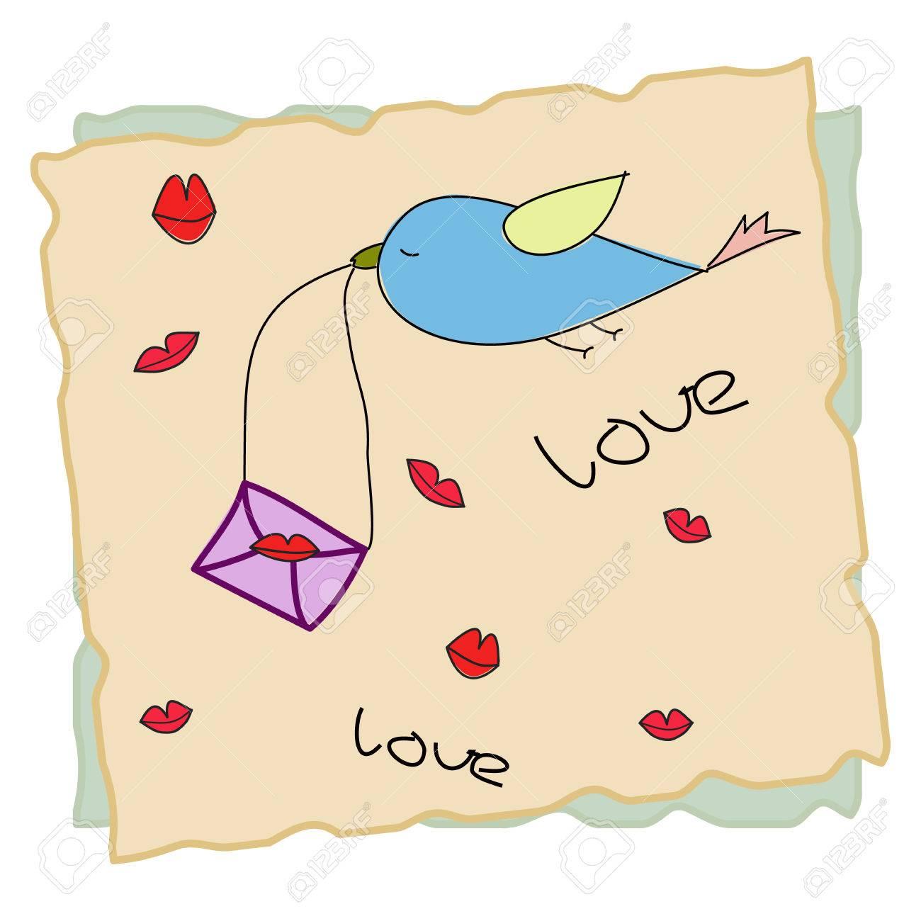 くちばしに手紙で簡単な飛ぶ鳥のイラスト素材ベクタ Image 70662634