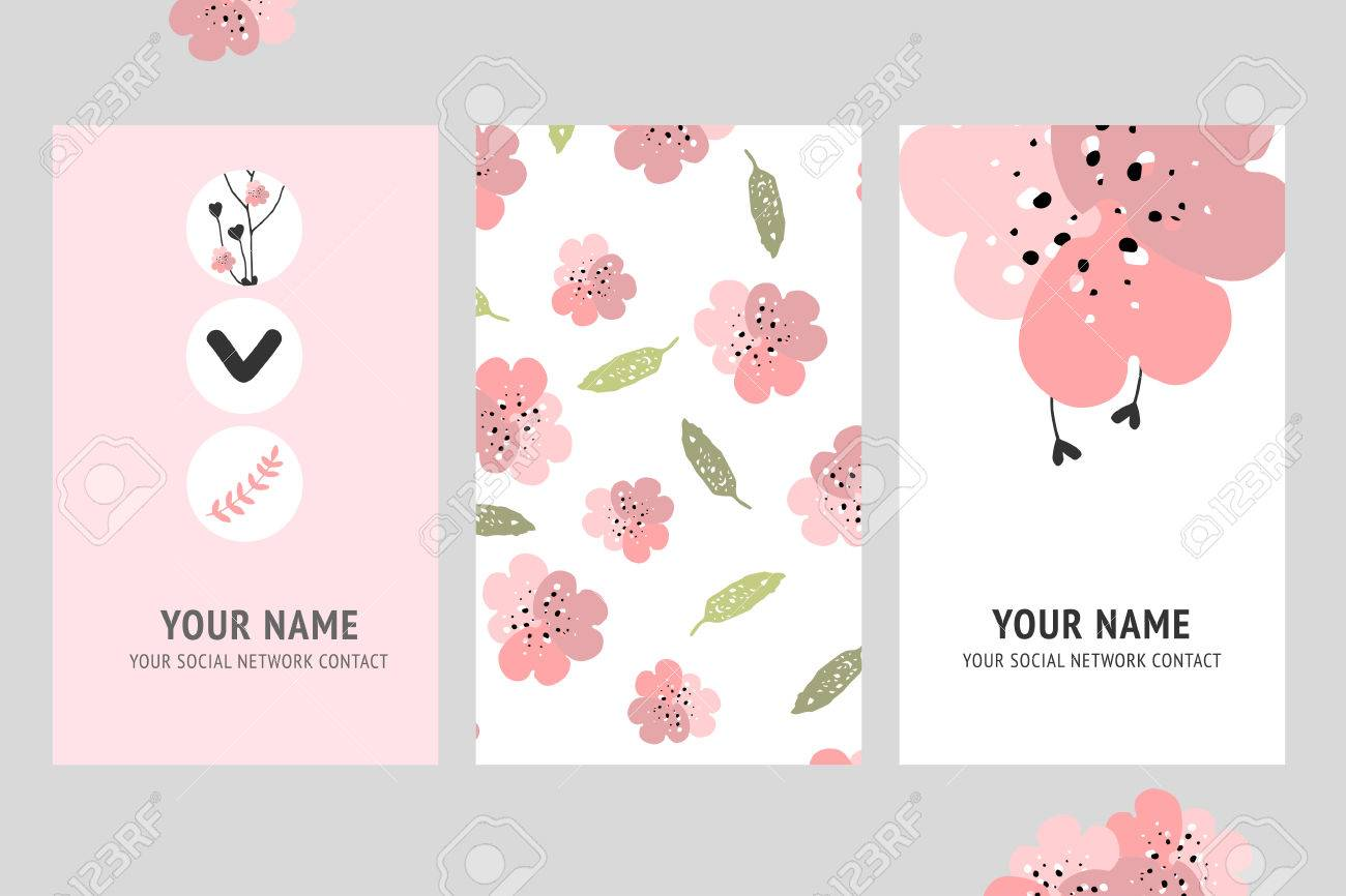 Vector Creative Business Card Template With Flower. For Banners ...