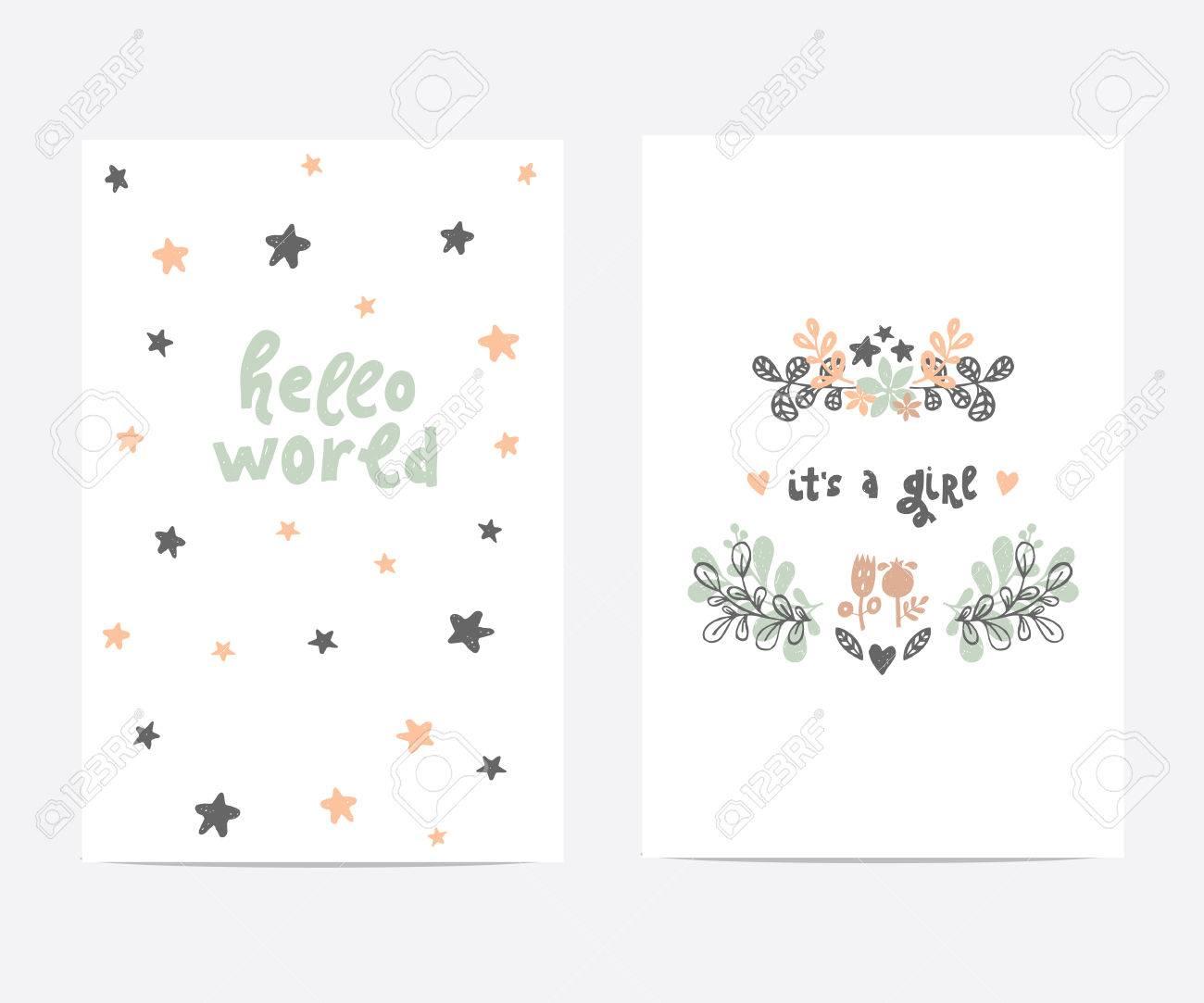 Conjunto De Plantillas De Tarjetas Vectoriales Perfecto Ideal Para La Fiesta De Bienvenida Al Bebé Día De Las Madres Día De Tarjetas Del Día De San