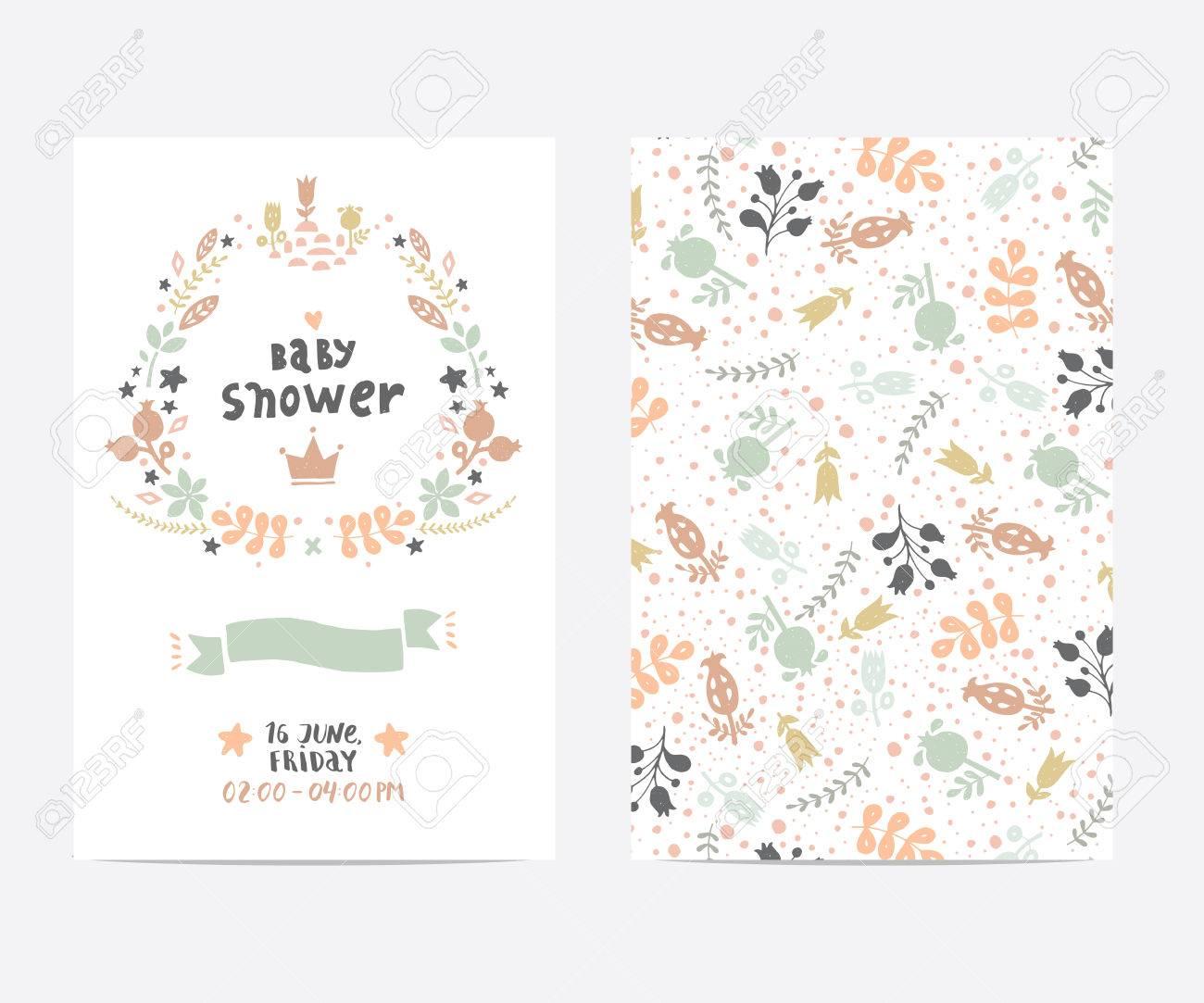 Set Von Perfekten Vektor-Kartenvorlagen. Ideal Für Babyparty, Mütter ...