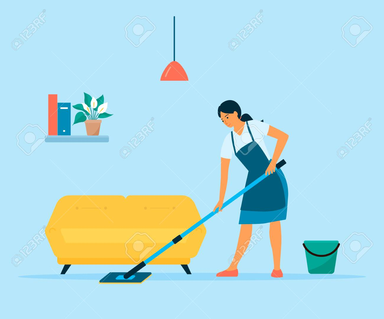 Woman cleaning floor with a mop and a bucket of water. Flat style vector illustration. Housewife doing housework at home - 148266610