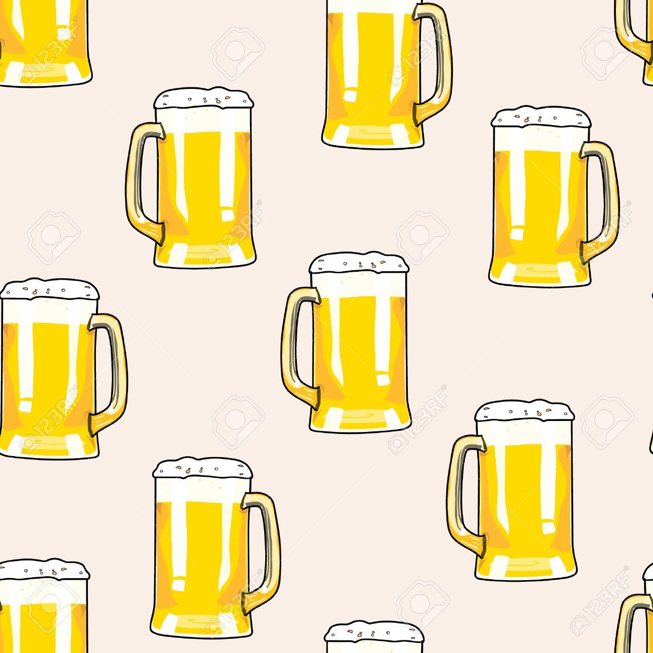 Modello Senza Soluzione Di Continuità Boccale Di Birra Carta Di Bar