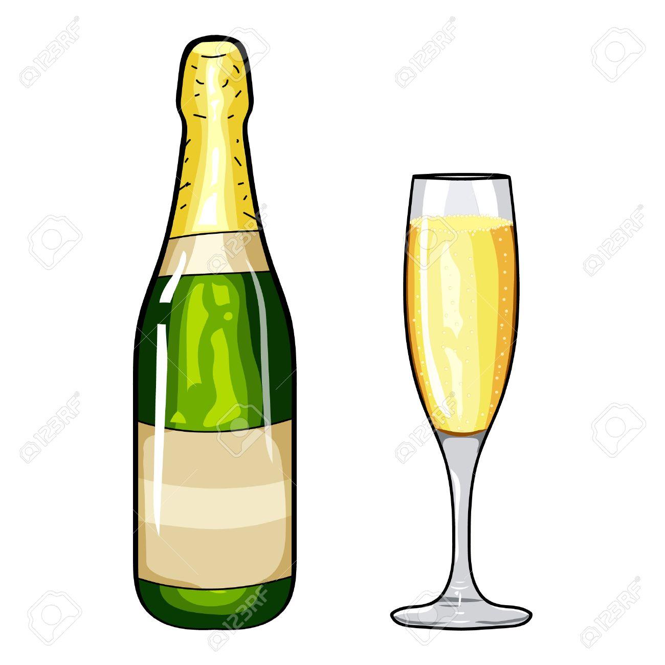 Bouteille De Champagne Dessin bouteille de champagne et un verre de champagne. Élément champagne